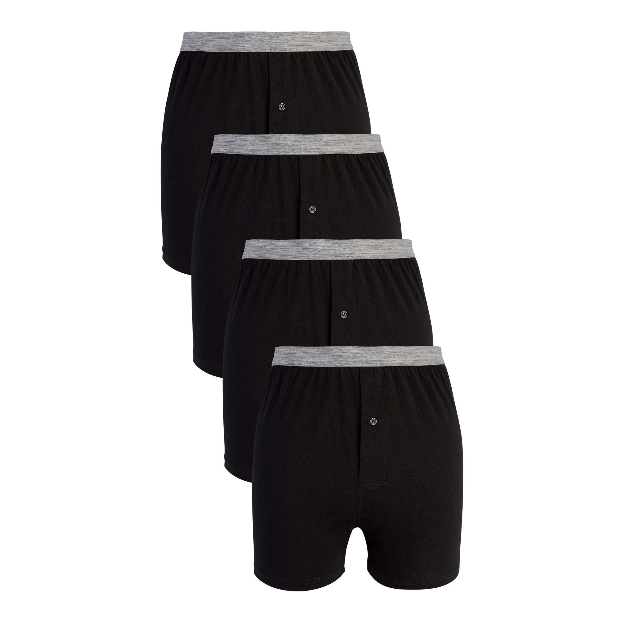 Image of Basic Pack of 4 Loose Fit Button Fly Boxers