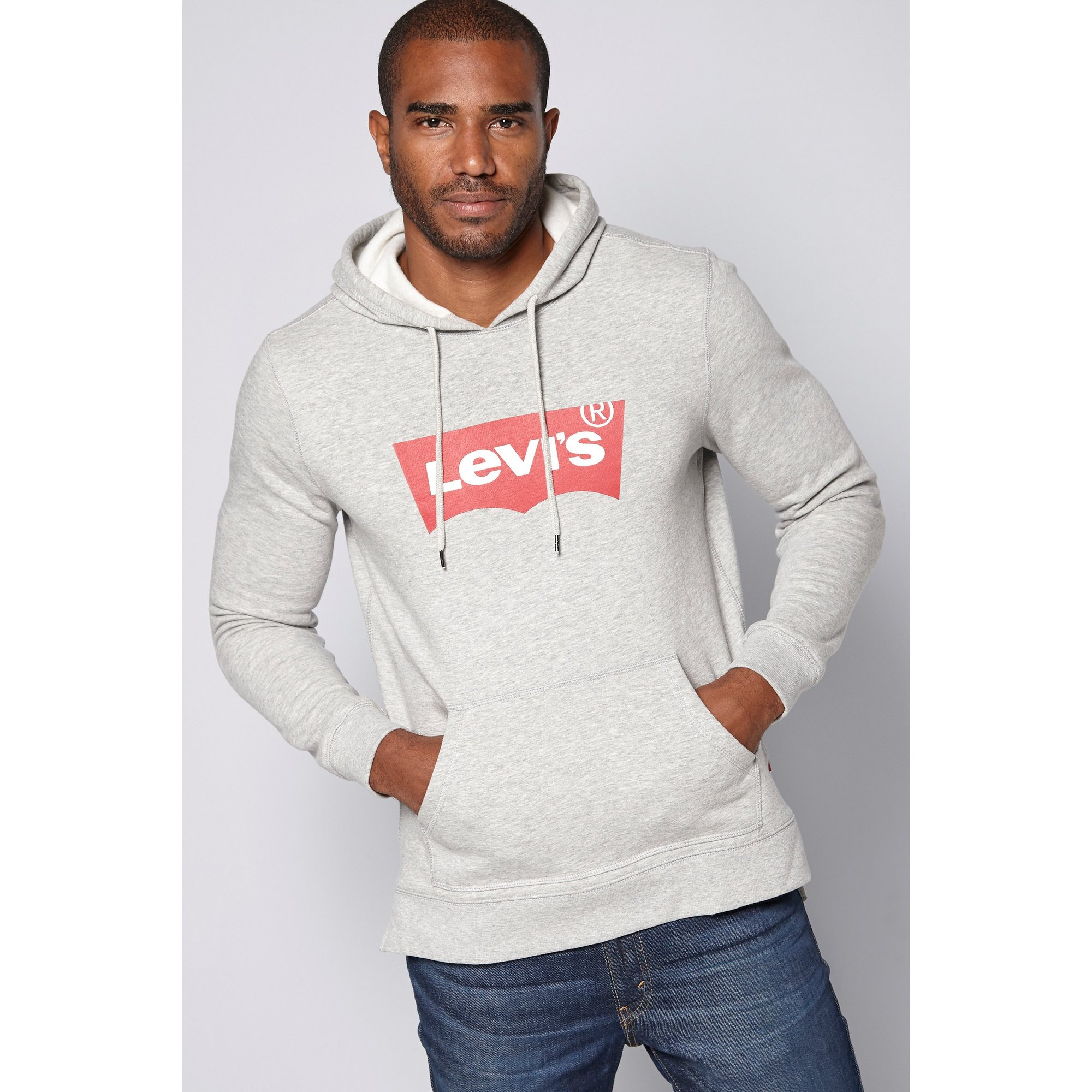 Image of Levis Large Chest Branding Grey Hoody