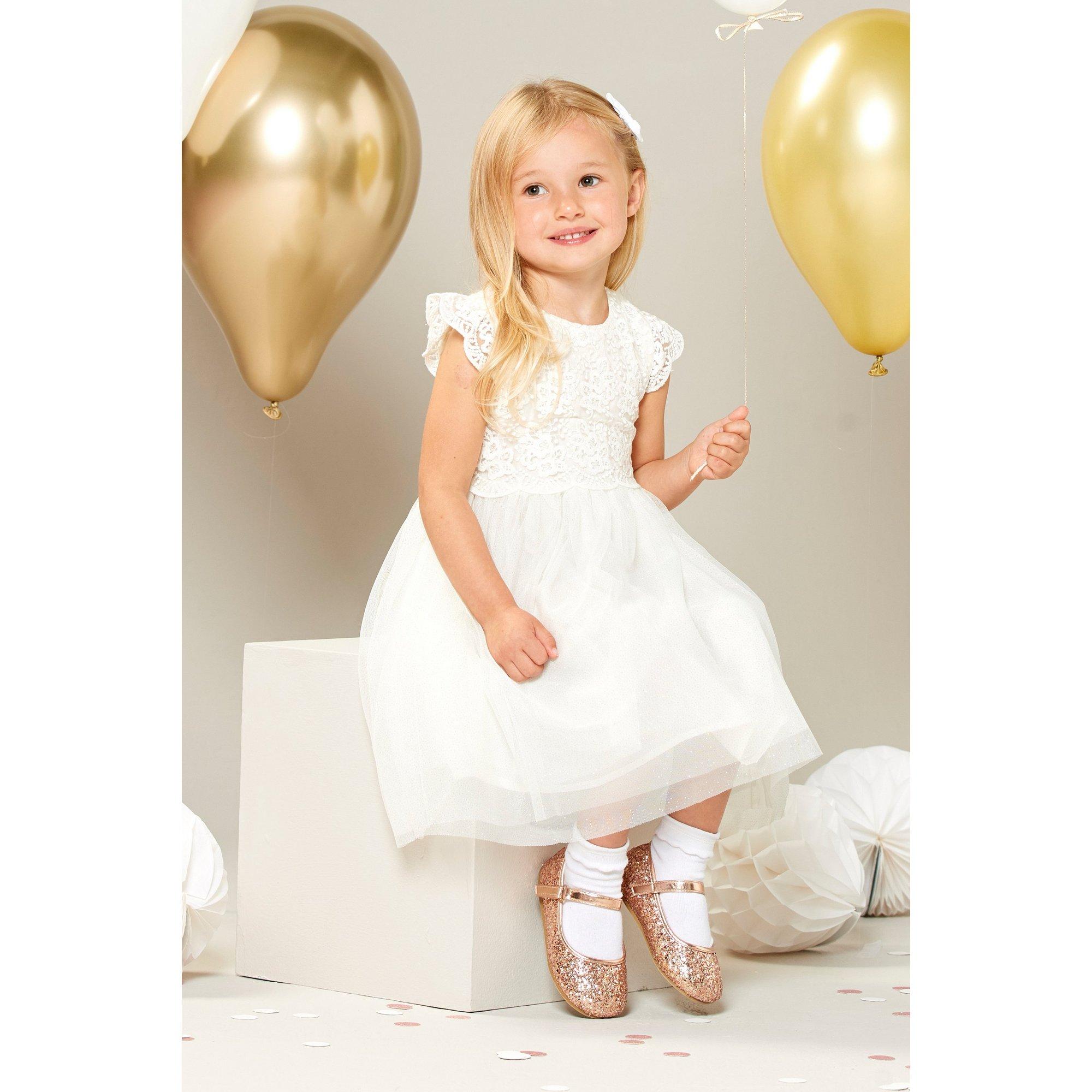 Image of Flower Girl Cream Dress with Glitter Mesh