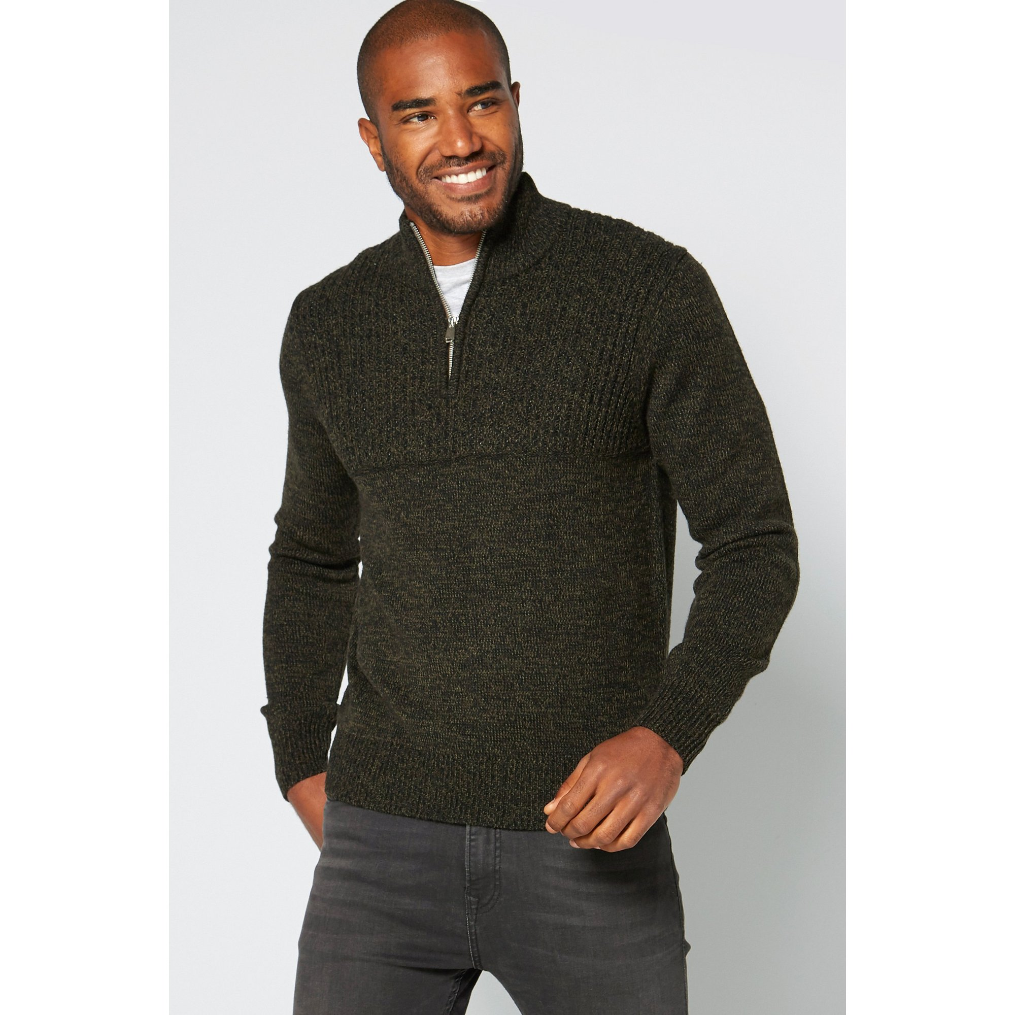 Image of 1/4 Zip Neck Khaki/Black Contrast Knitted Jumper