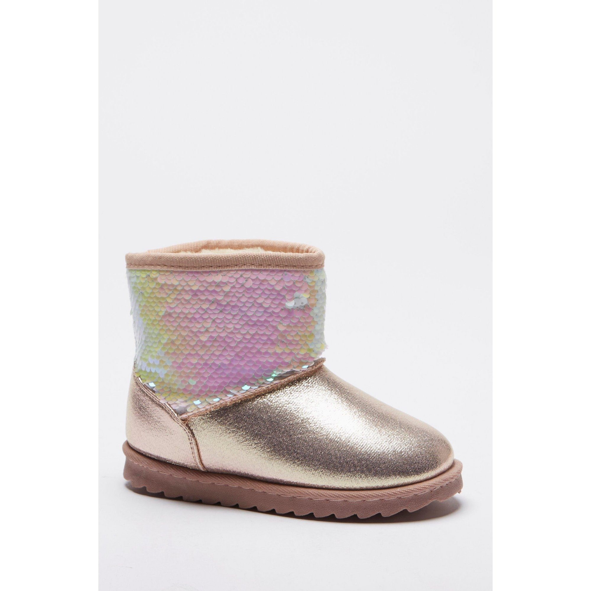 Image of Girls Sequin Faux Fur Boots