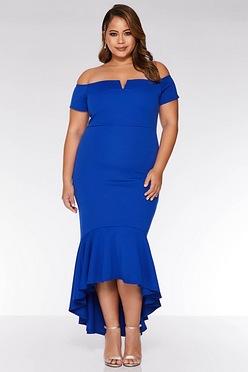 8f4f89301d4 Quiz Curve Bardot Fishtail Dip Hem Bodycon Cobalt Dress