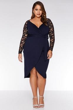 513d9cfbe39 Quiz Curve Lace Sleeve Wrap Dress