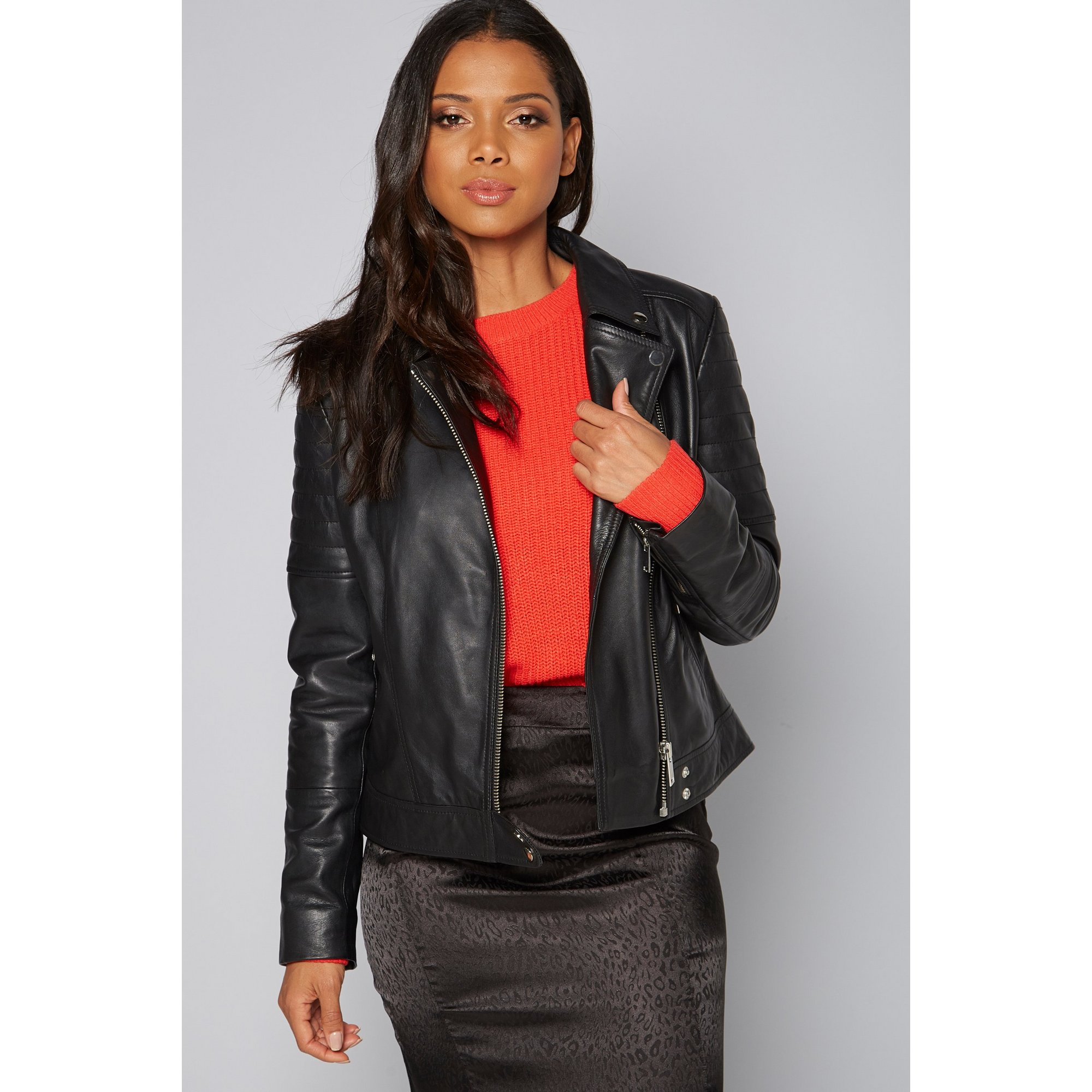 Image of Barneys Leather Biker Jacket