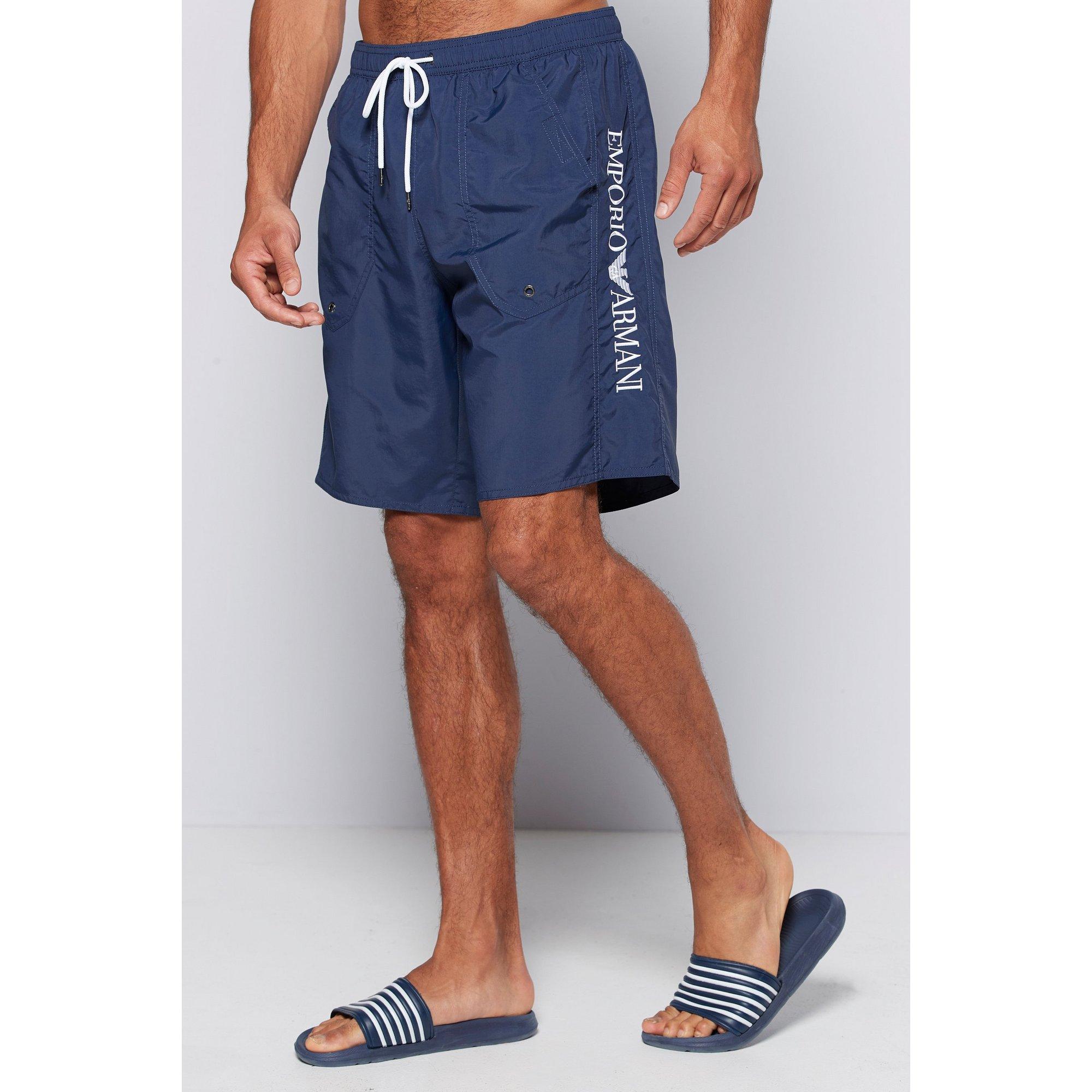 Image of Emporio Armani Branded Navy Swim Shorts