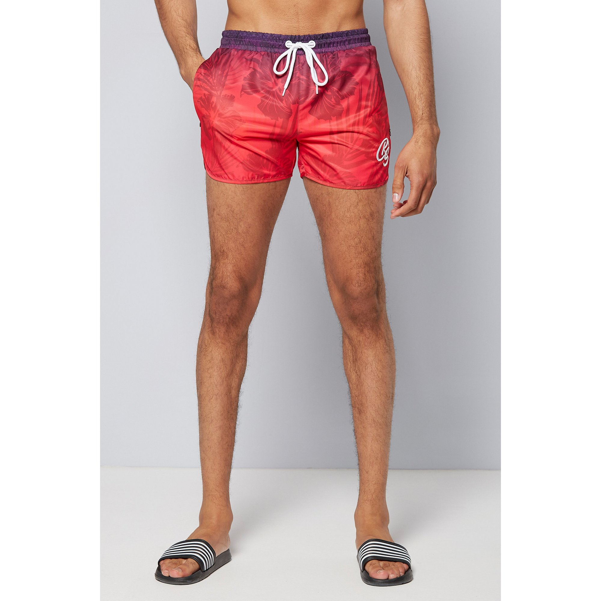 Image of Crosshatch Gradient Print Swim Shorts