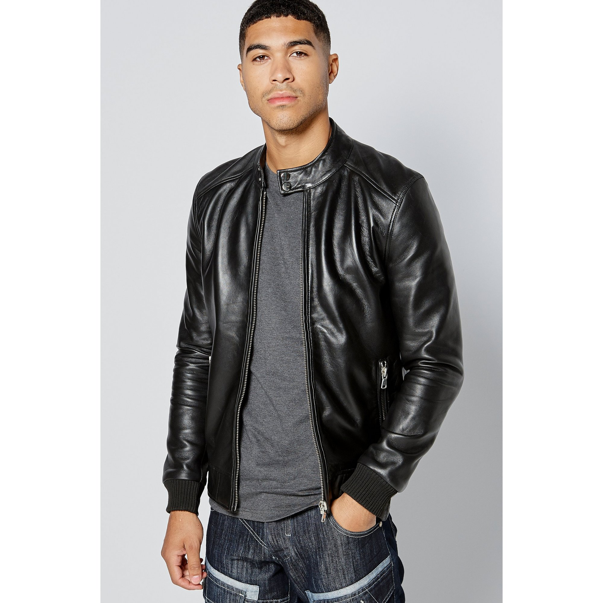Image of Barneys Harrington Leather Jacket