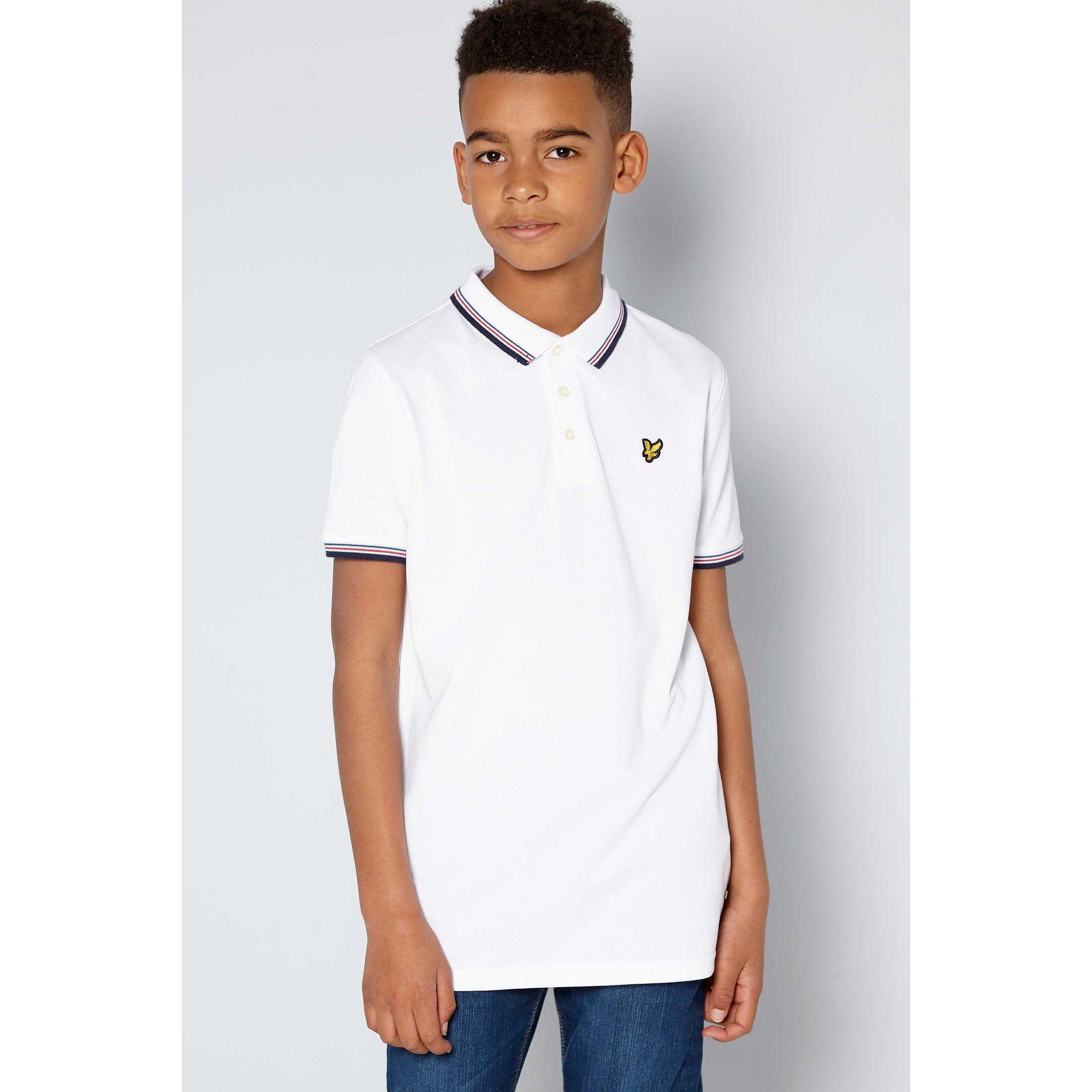 Image of Boys Lyle and Scott Plain White Tipped Polo Shirt