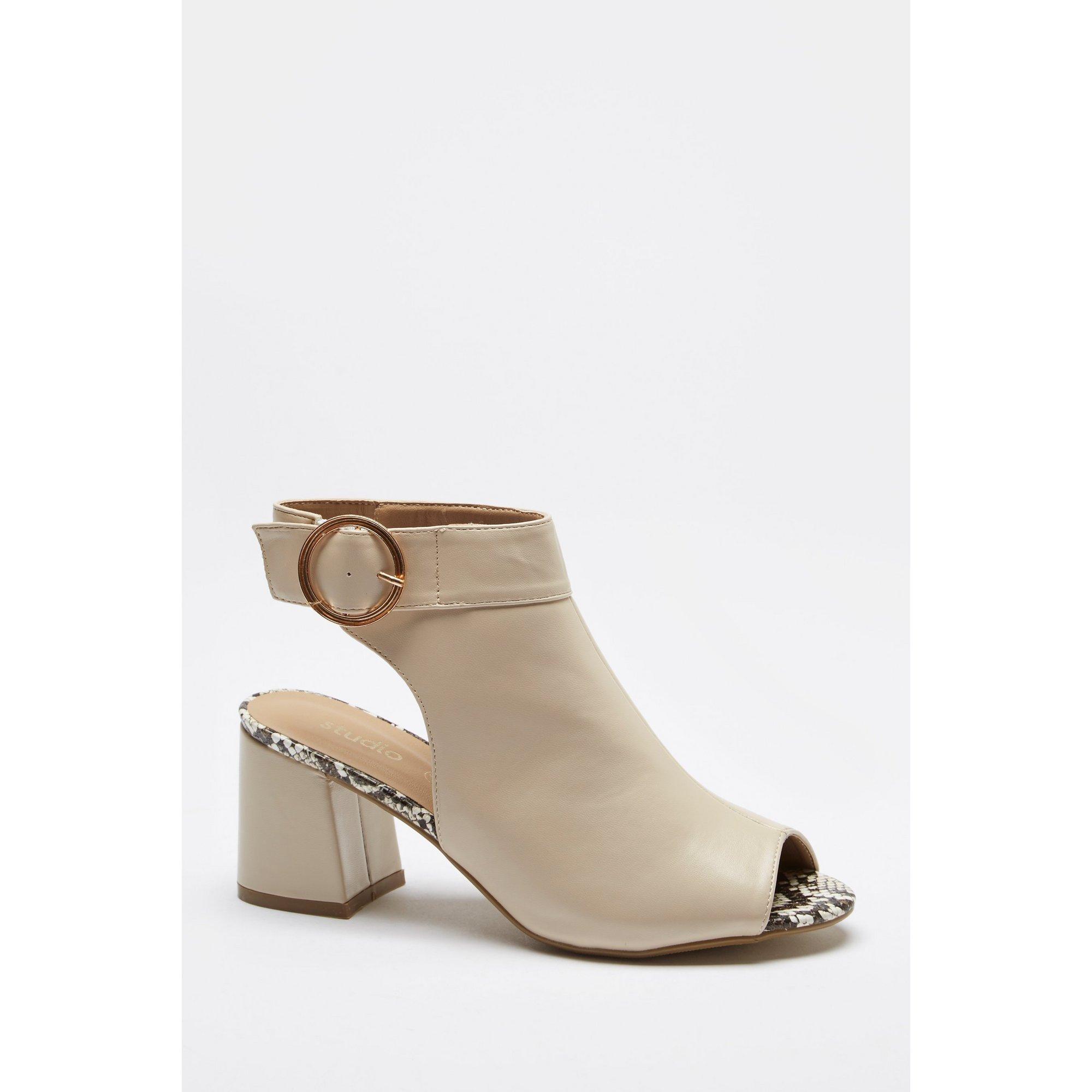 Open Toe Block Heel Shoe Boots