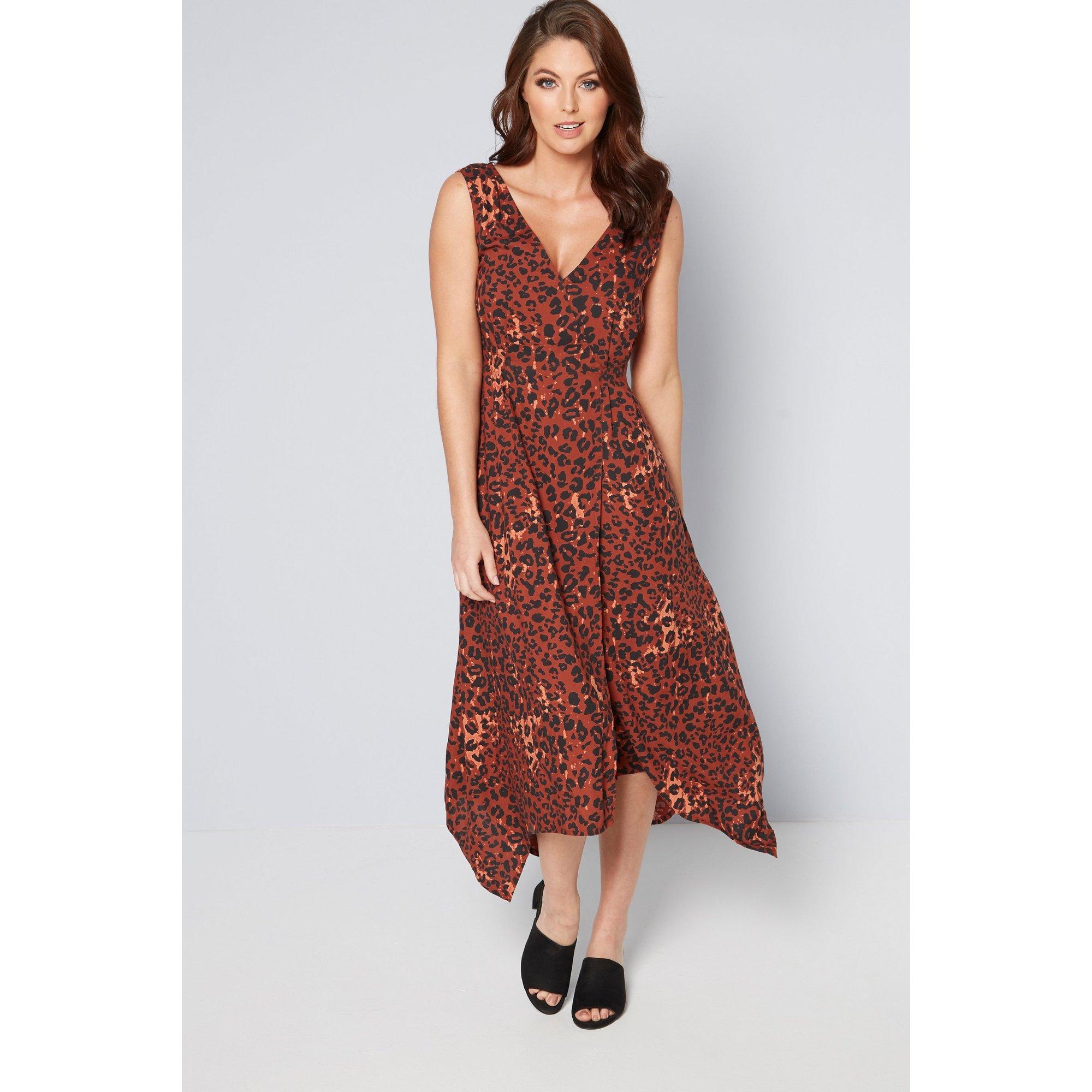 Image of Animal Print Asymmetric Hem Dress