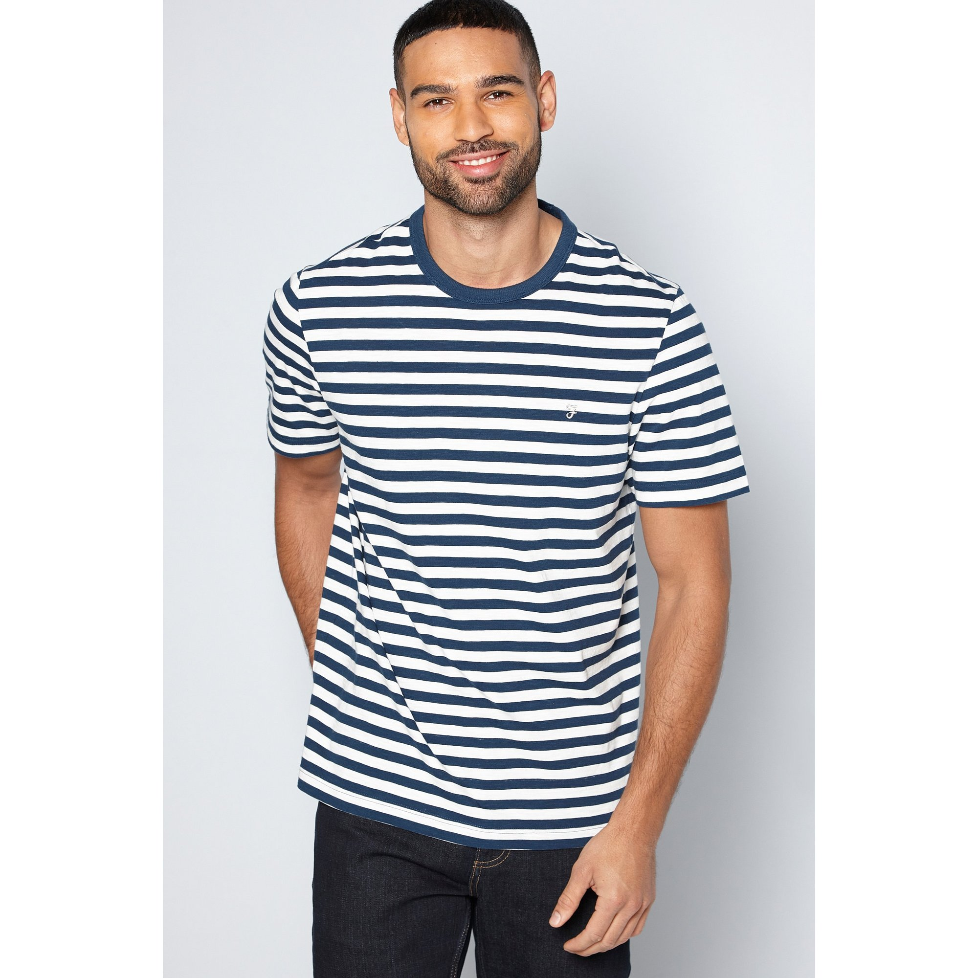 Image of Farah Navy Double Striped Collar T-Shirt