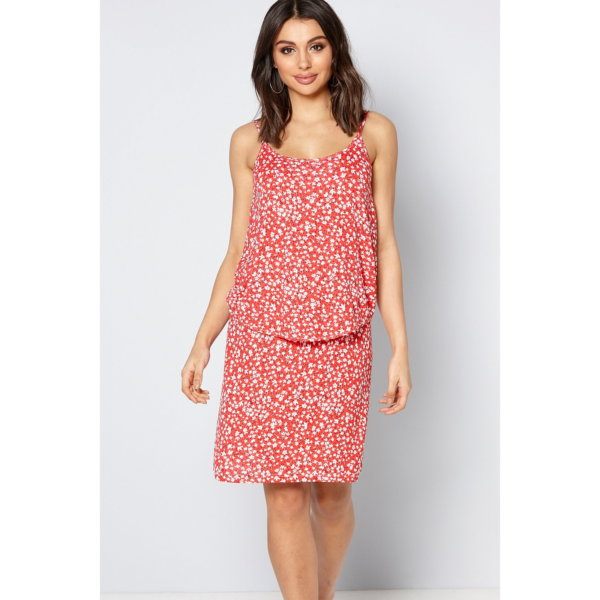 Image of 2-Layer Ditsy Floral Strappy Dress
