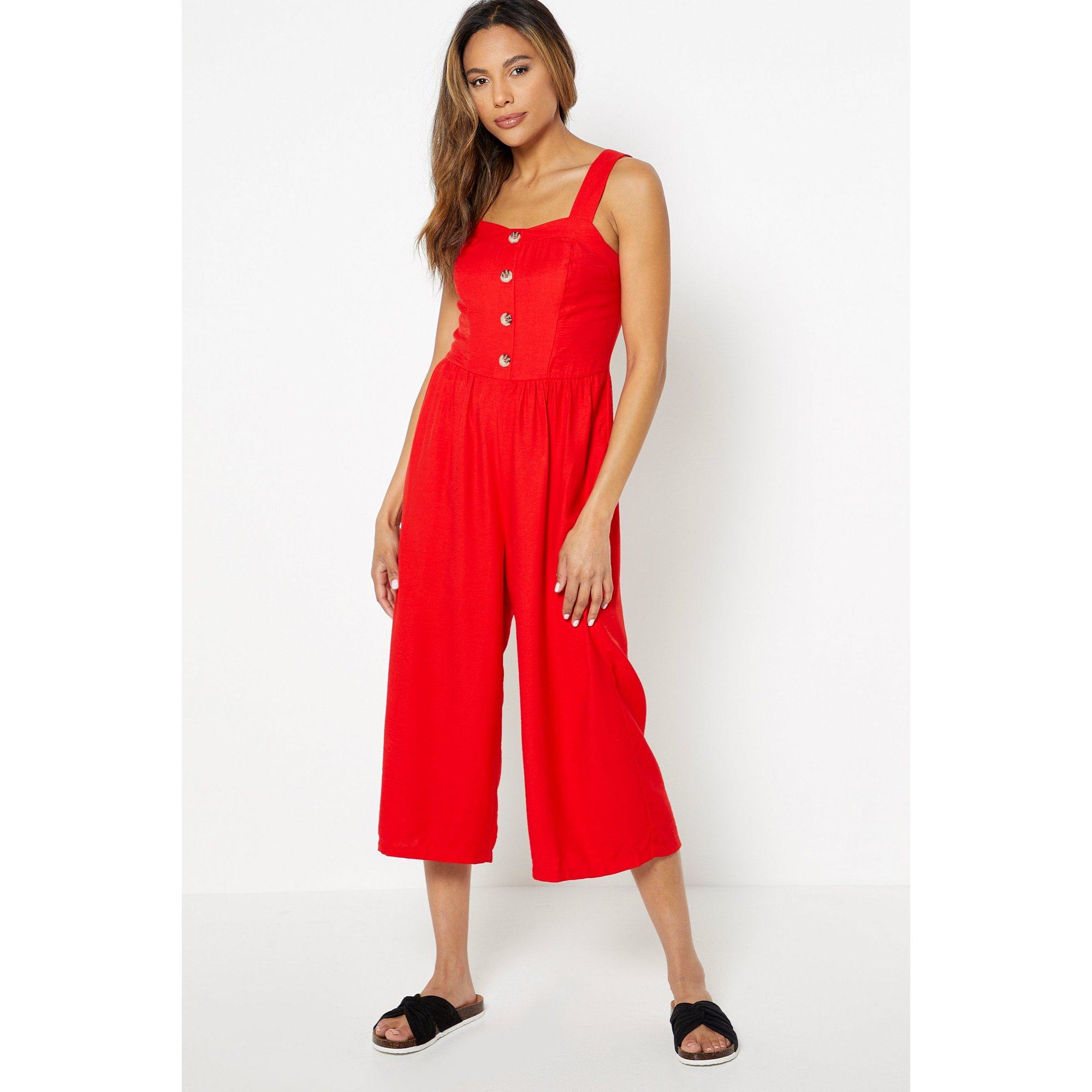 Image of Button Cropped Textured Red Jumpsuit