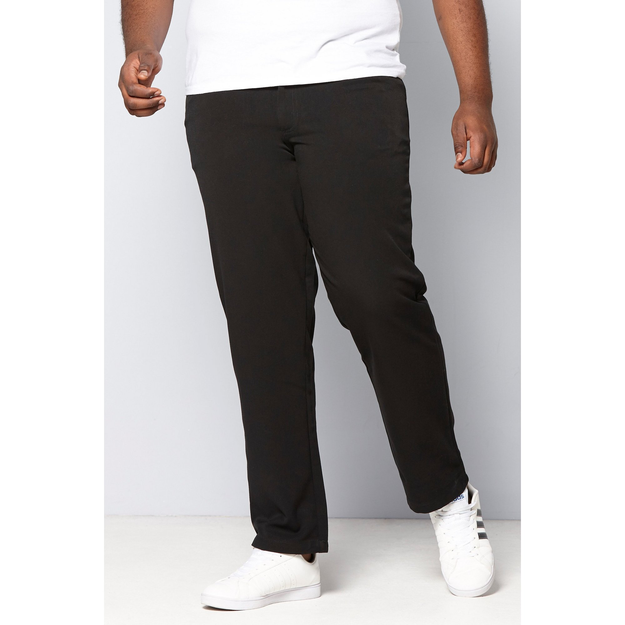 Image of D555 by Duke Big and Tall Bi Stretch Five Pocket Black Trousers