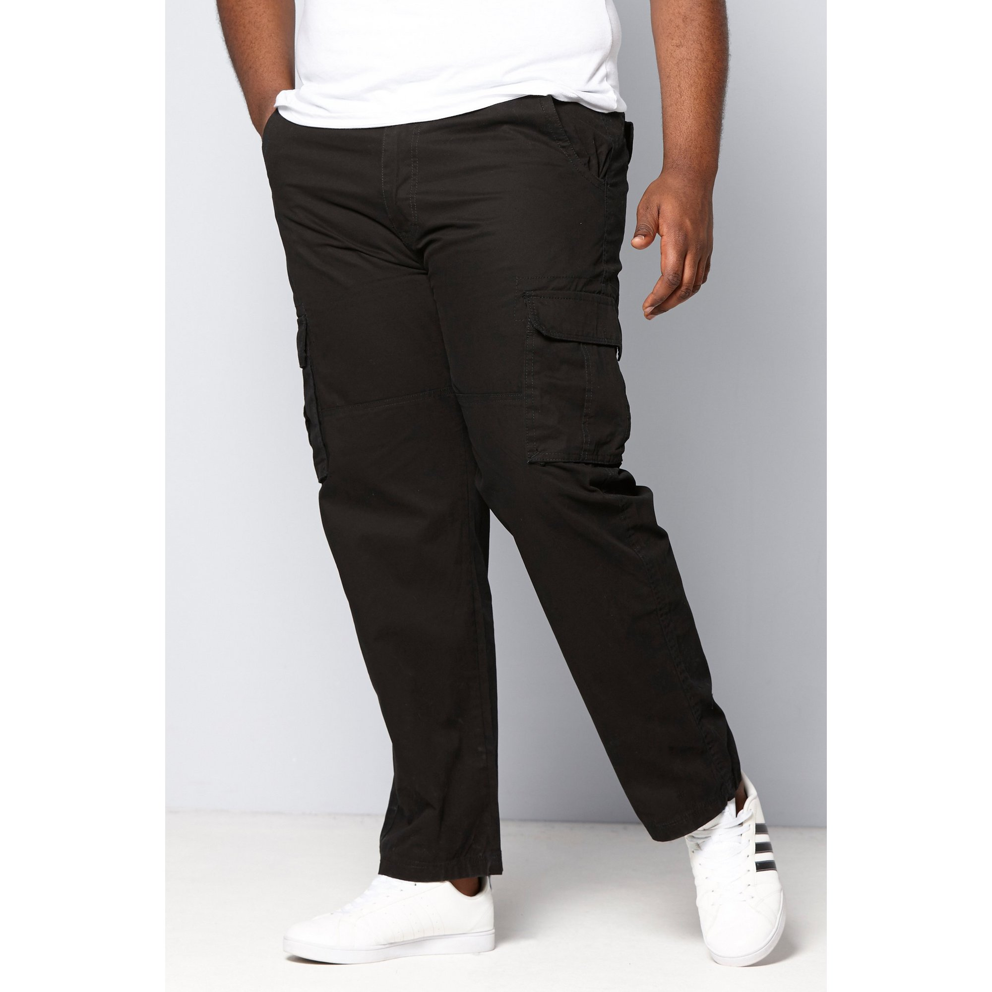 Image of D555 by Duke Big and Tall Black Cargo Trousers