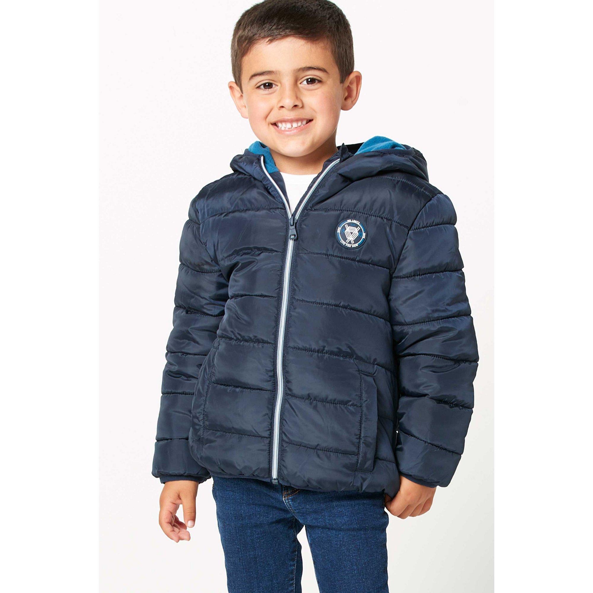 Image of Younger Boys School Fleece Lined Padded Navy Jacket