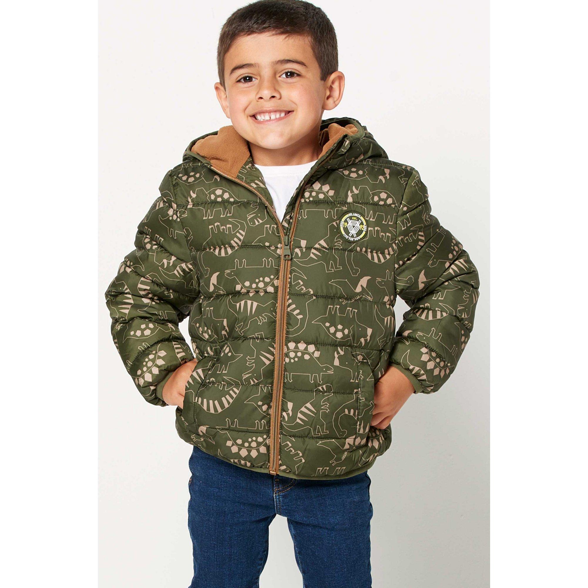 Image of Younger Boys Fleece Lined Dinosaur Padded Jacket