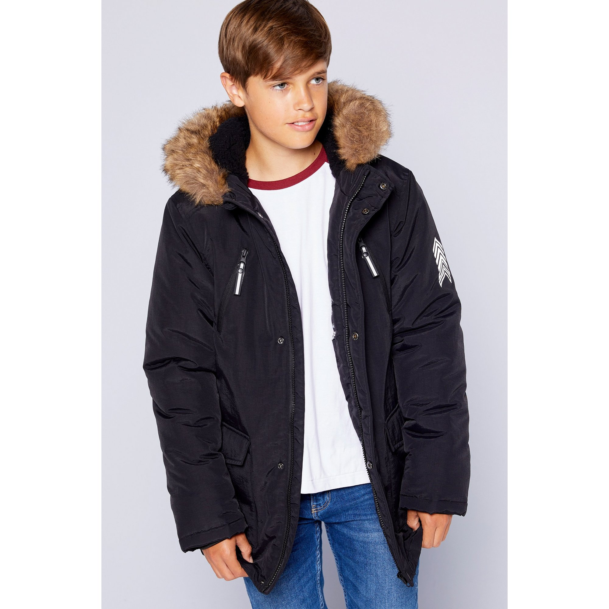 Image of Boys Borg Hooded Zip Front Parka