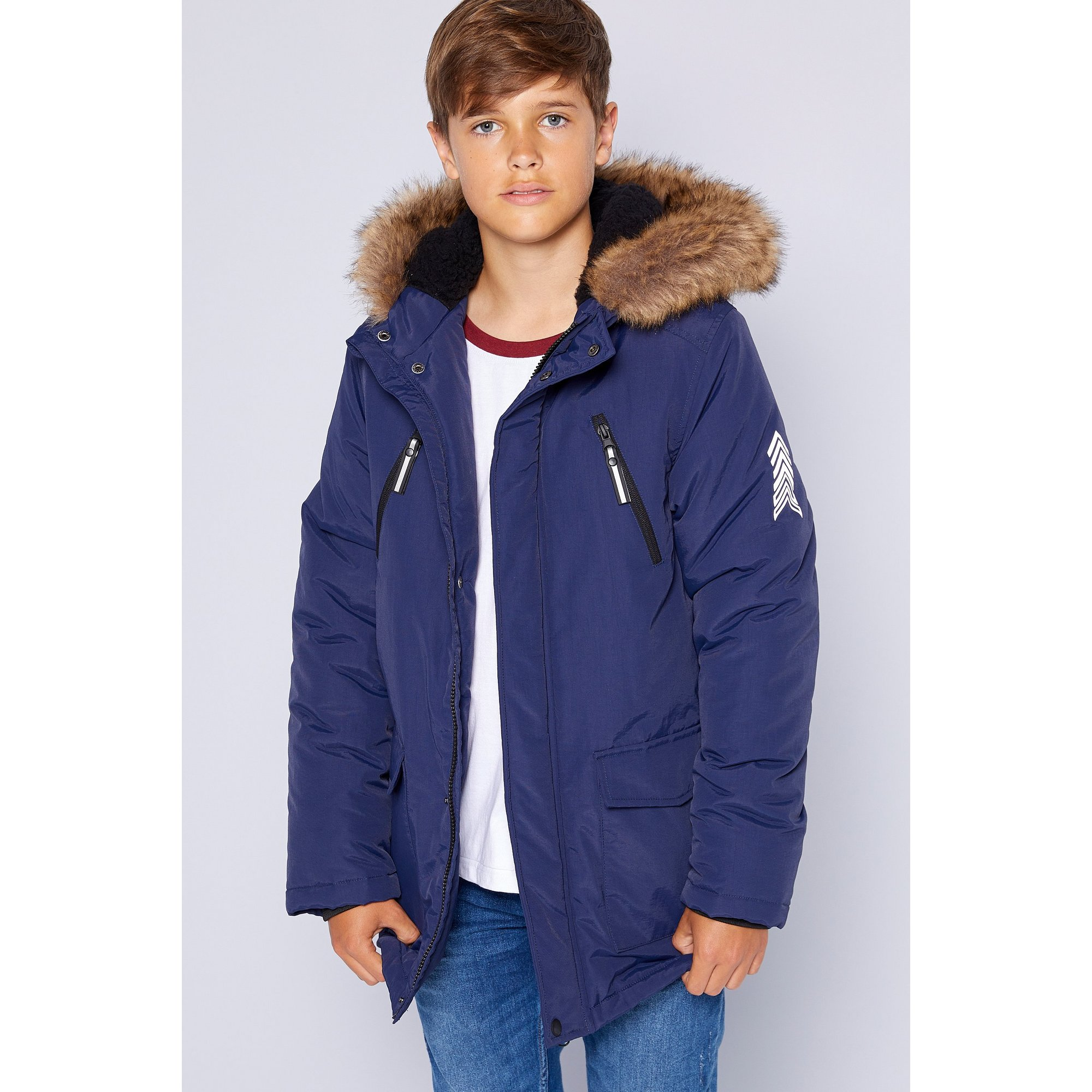 Image of Boys Borg Hooded Zip Front Navy Parka