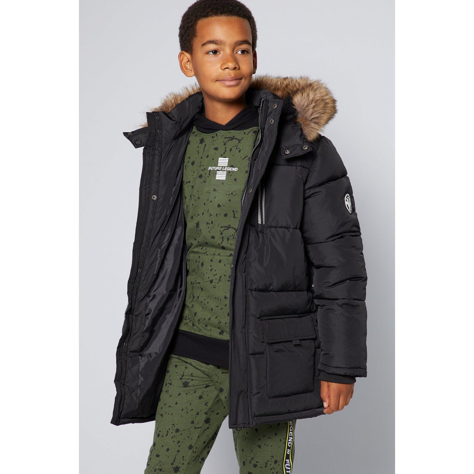 Image of Older Boys Faux Fur Hood Padded Zip Front Jacket