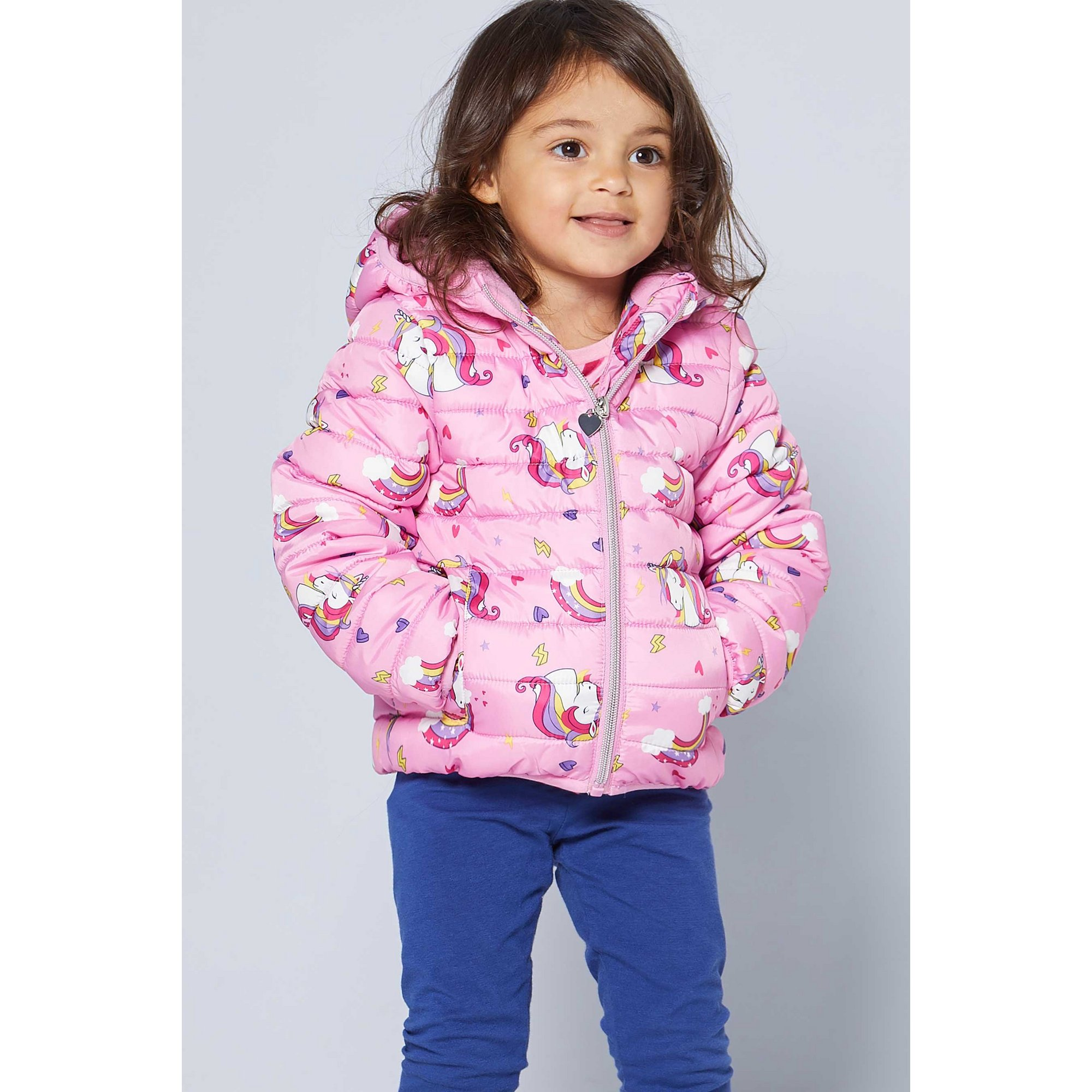 Image of Younger Girls Unicorn Micro Fleece Lined Slim Fit Padded Jacket