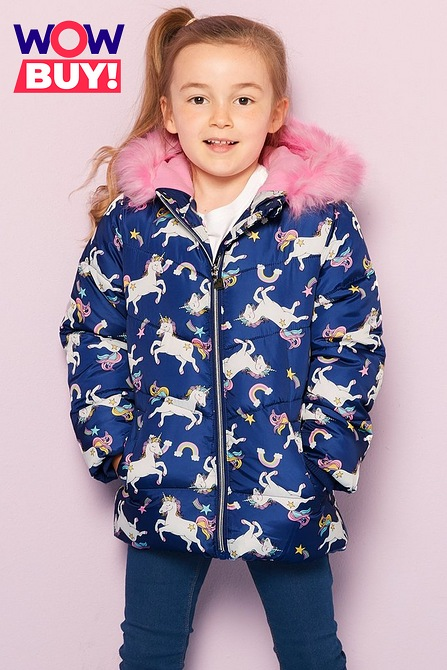 Image for Younger Girls Unicorn Faux Fur Hooded Padded Jacket from studio