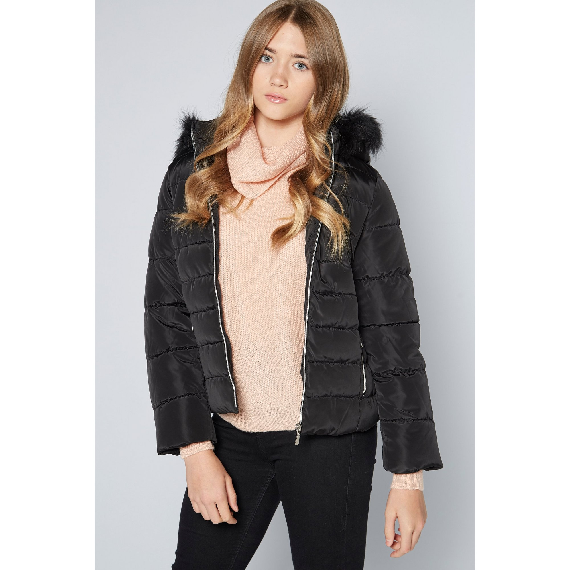 Image of Older Girls Faux Fur Hood Micro Fleece Lined Black Padded Jacket