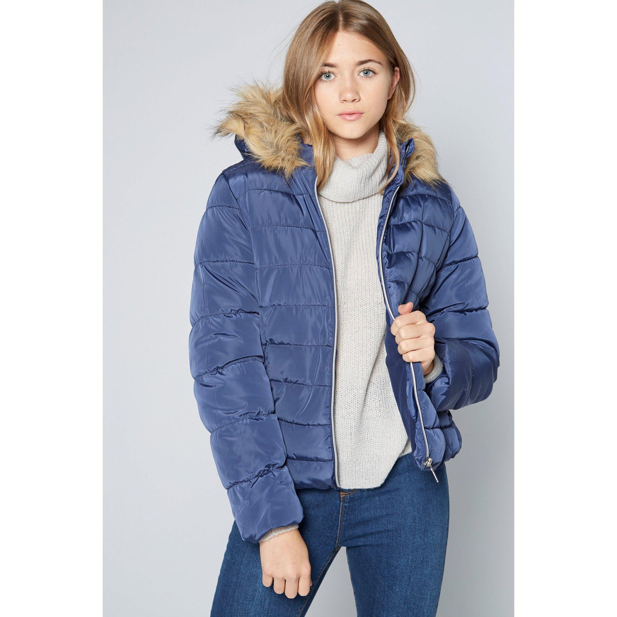 Image of Older Girls Faux Fur Hood Micro Fleece Lined Navy Padded Jacket