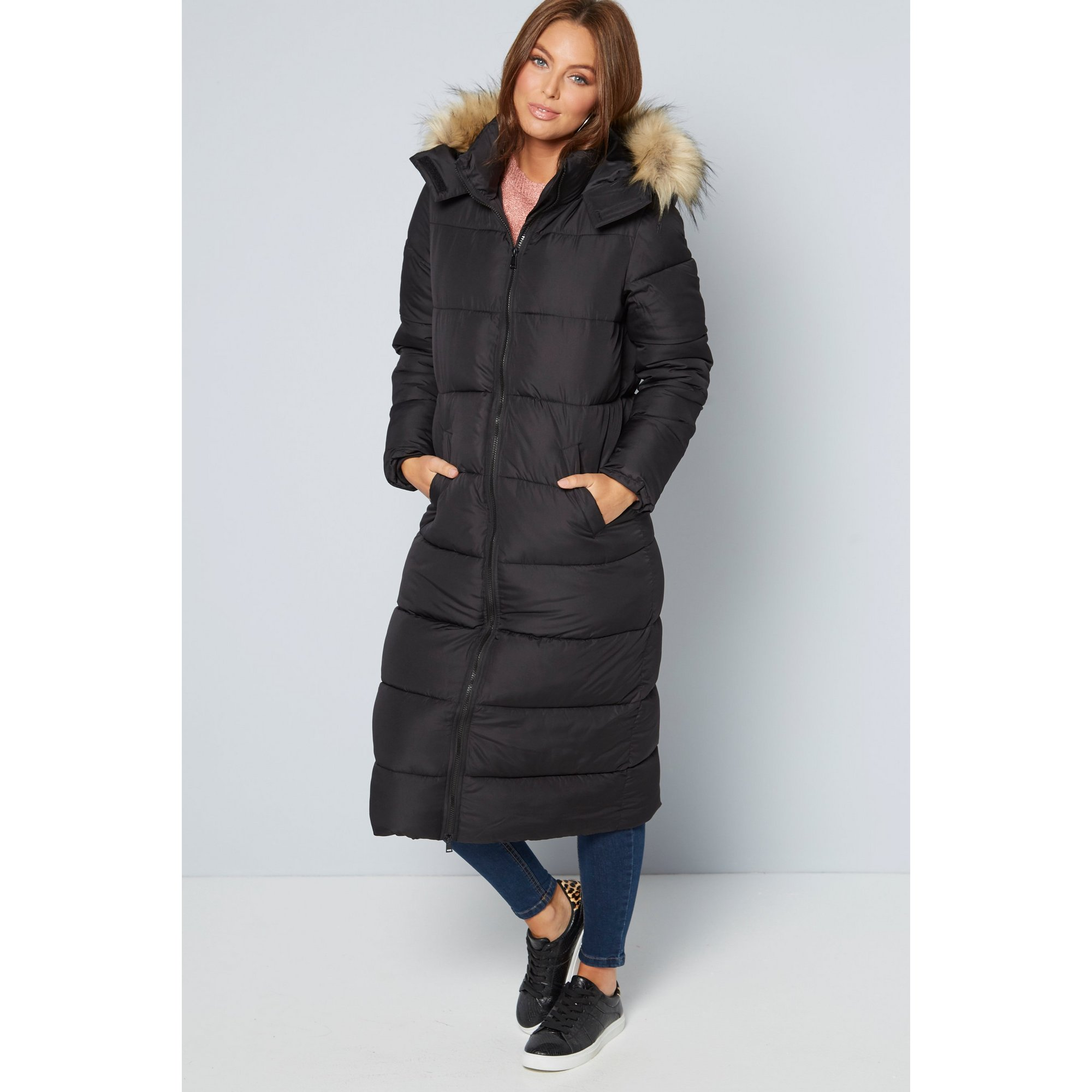 Image of Black Maxi Padded Coat