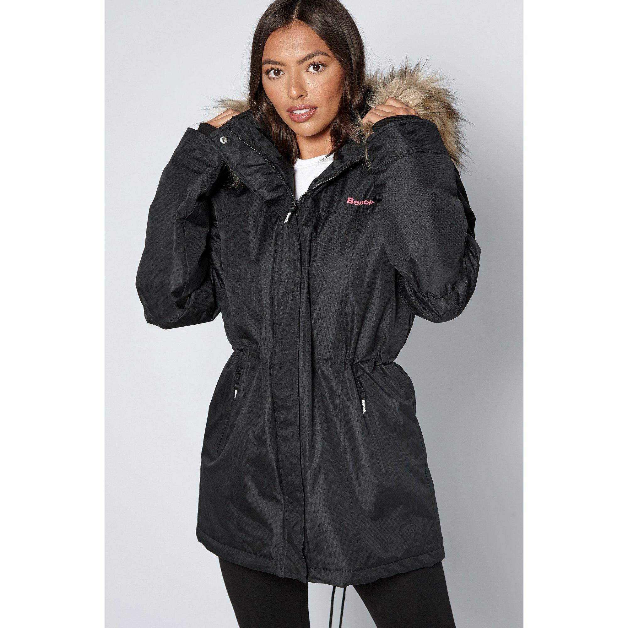 Image of Bench Black Parka with Faux Fur Trim Hood