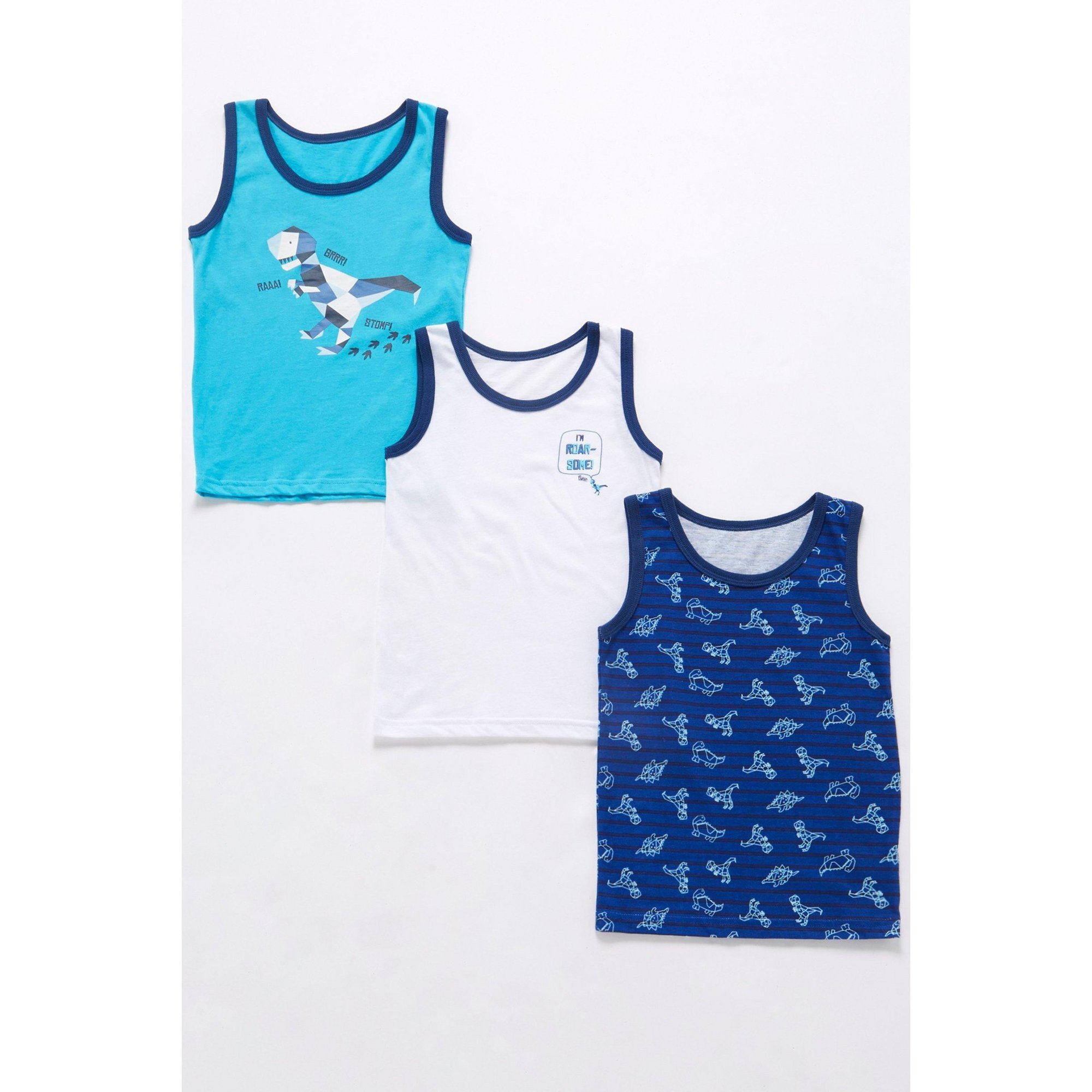 Image of Boys Pack of 3 Dino Print Vests