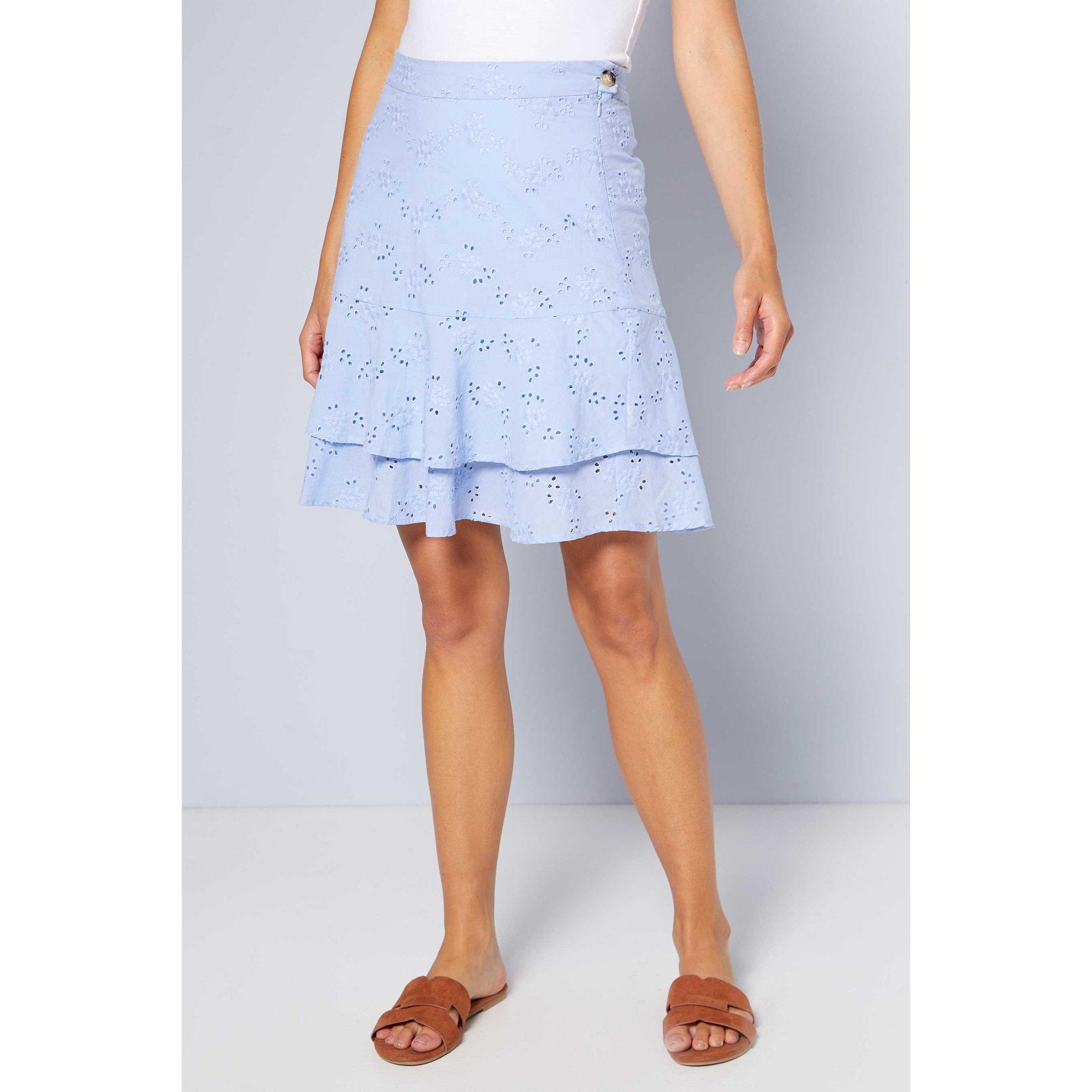 Image of Blue Broderie Frill Skirt
