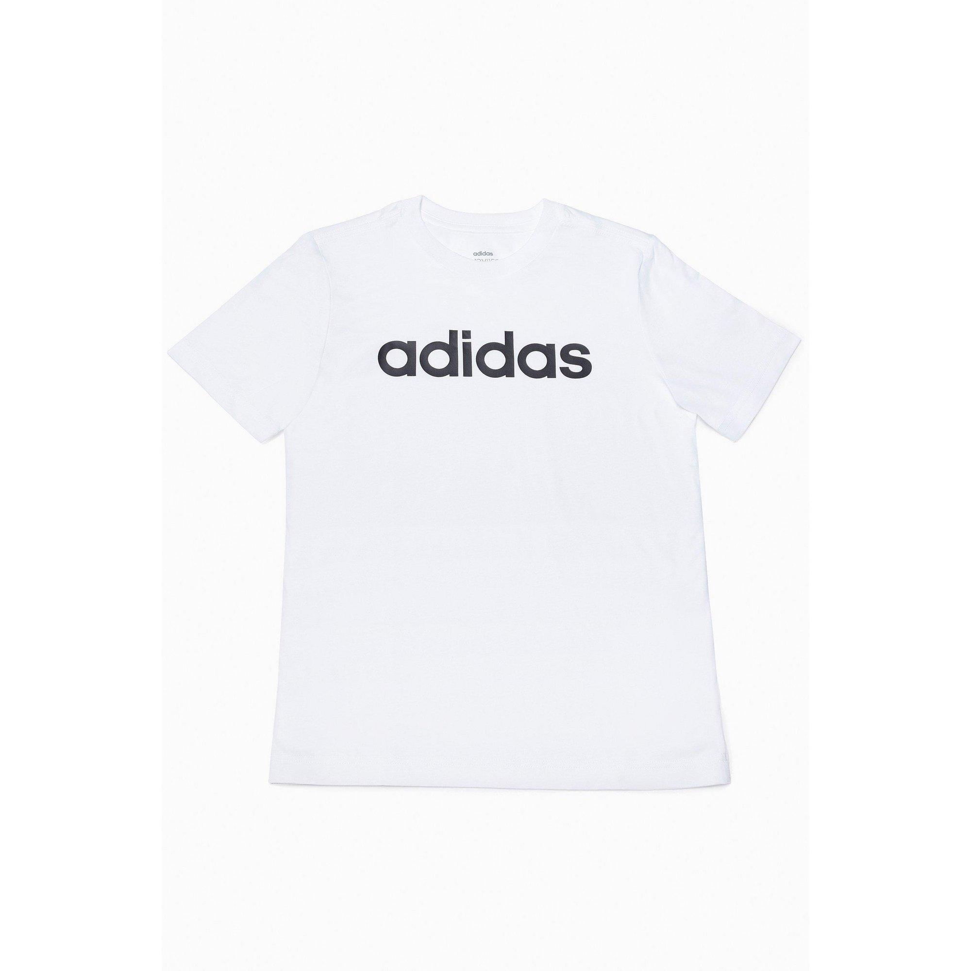 Image of Boys adidas Essentials White Linear Logo T-Shirt