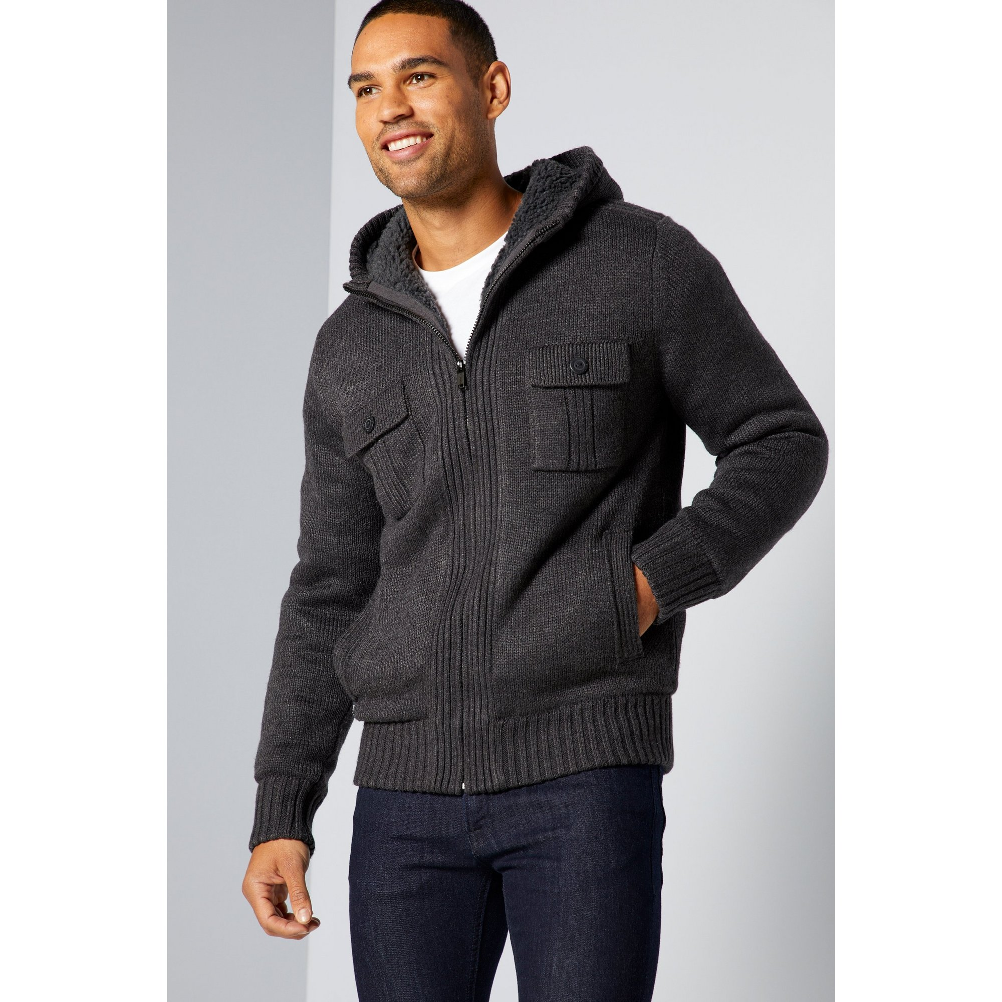 Image of Dissident Sherpa Lined Knitted Jacket