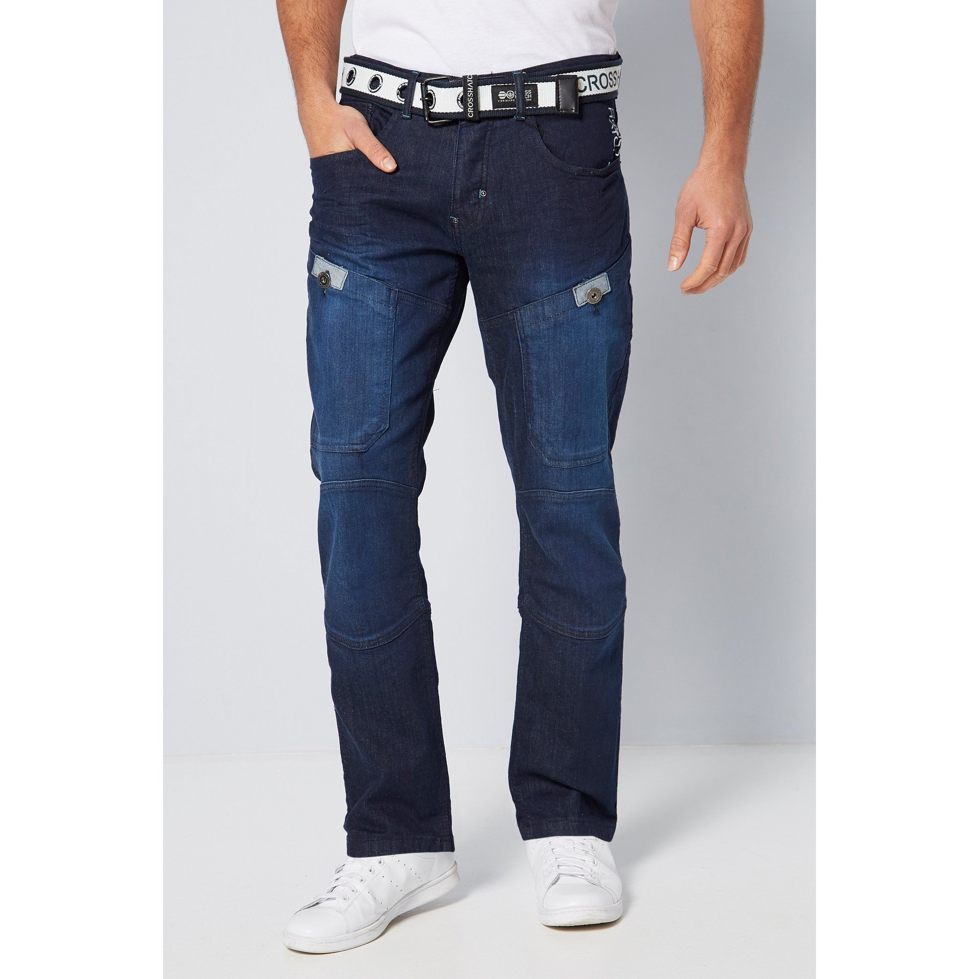 Image of Crosshatch Belted Regular Fit Jeans