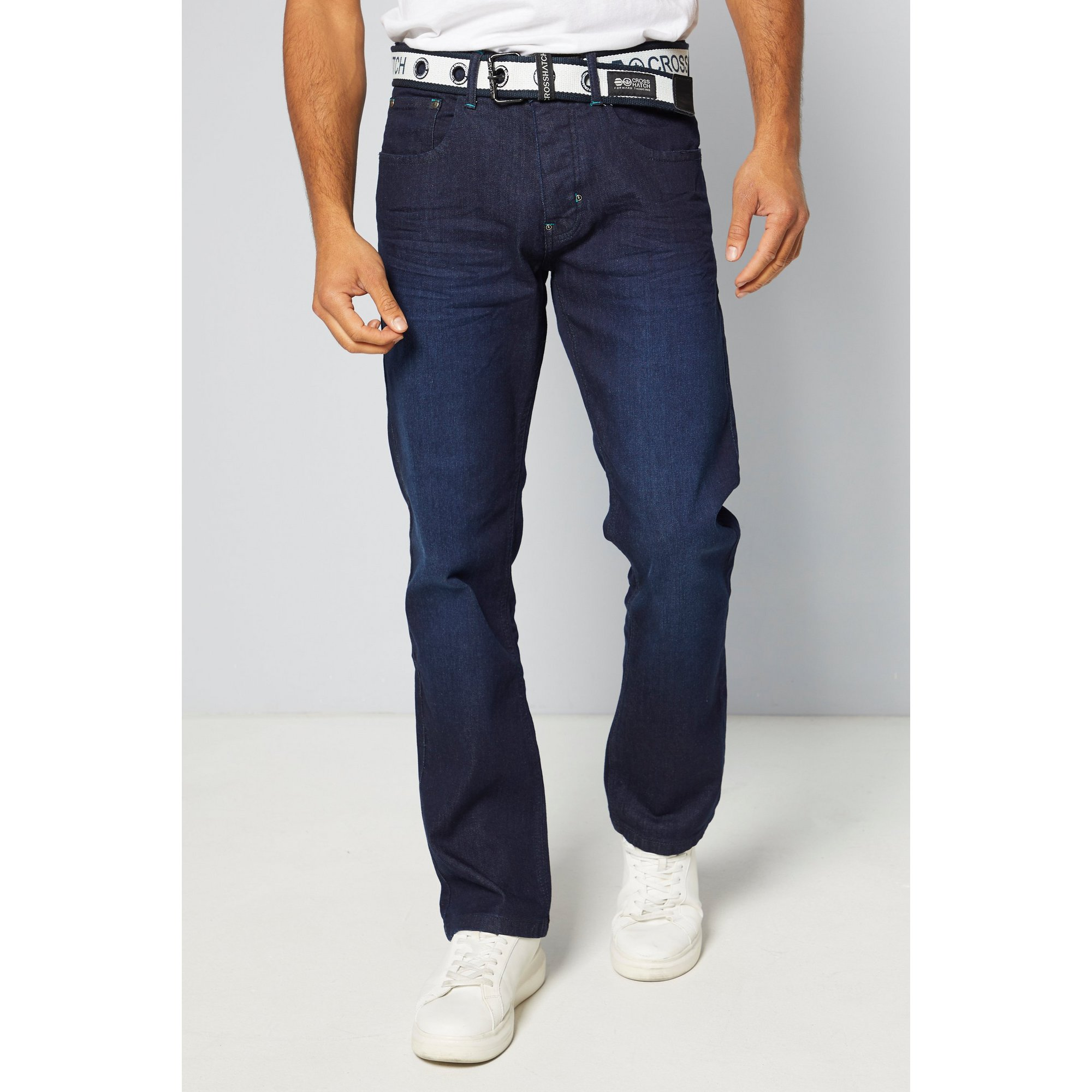 Image of Crosshatch Belted Tapered Fit Jeans