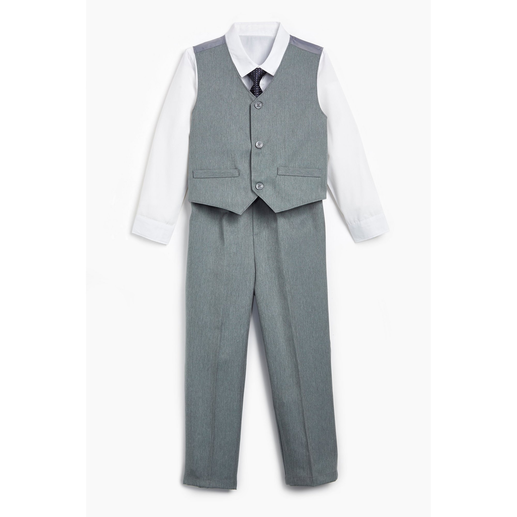 Image of Boys 4-Piece Grey Occasion Suit with Shirt and Tie