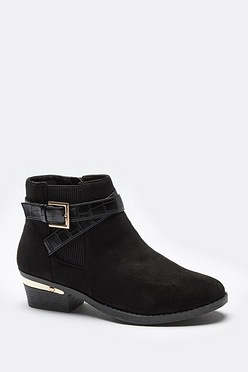 Low Block Heel Chelsea Boots with Buckle Detail