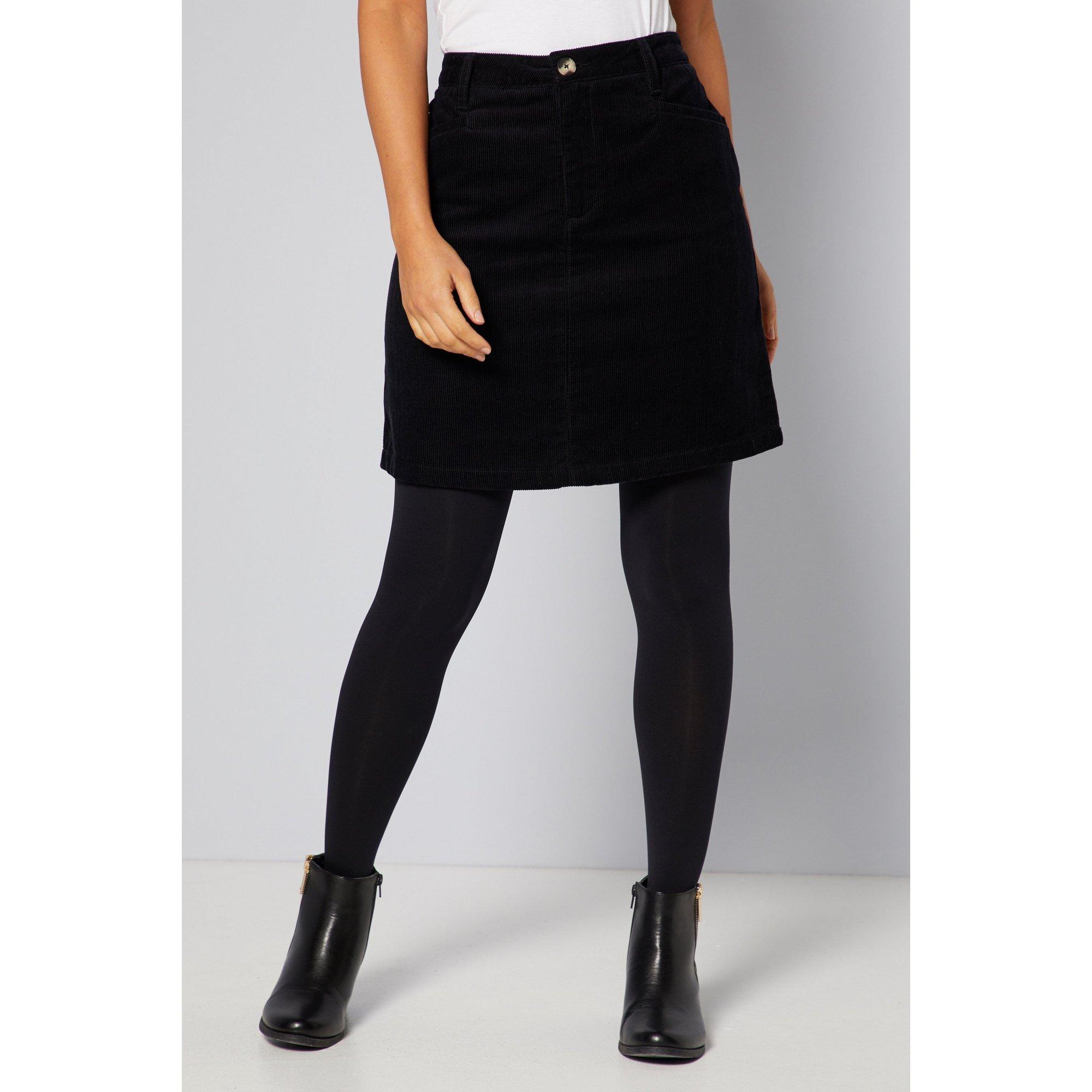 Image of Cord Black Mini Skirt