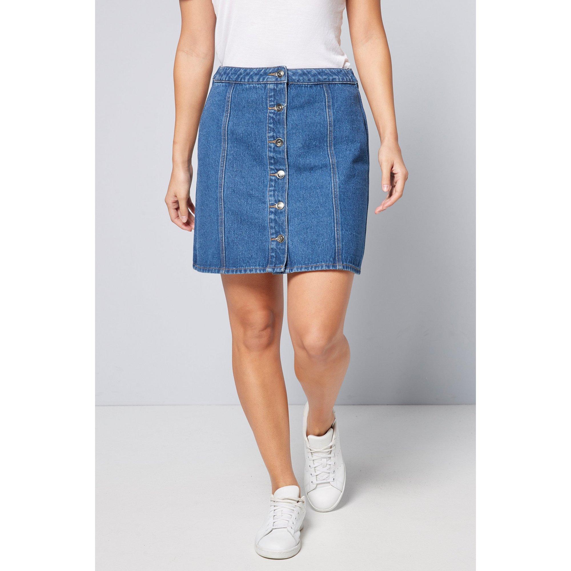 Image of Basic Indigo Denim Button Through Skirt