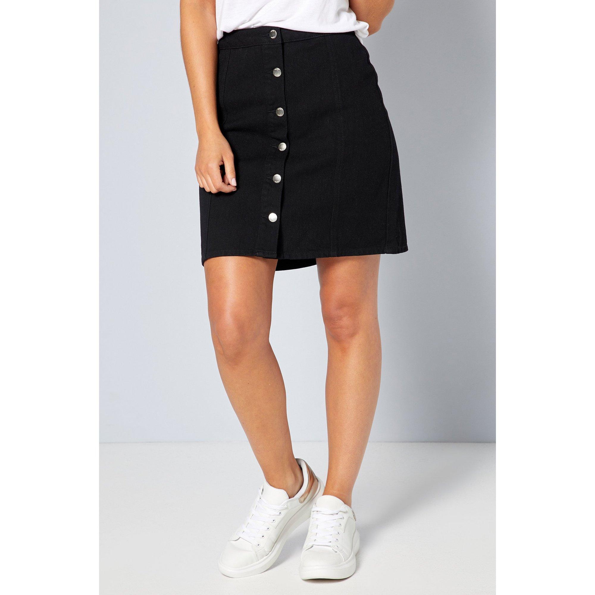 Image of Basic Black Denim Button Through Skirt