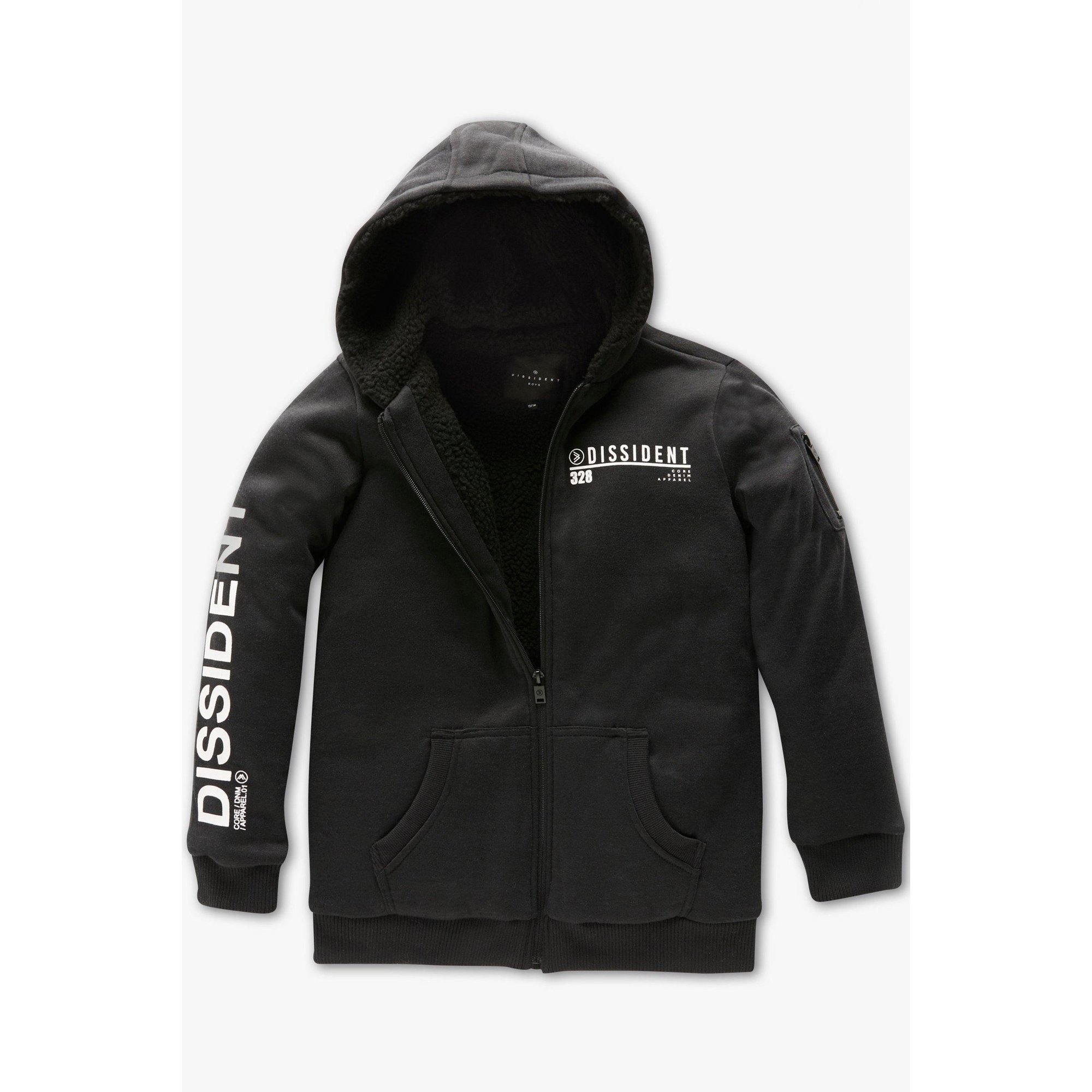 Image of Boys Dissident Borg Lined Black Zip Through Hoody