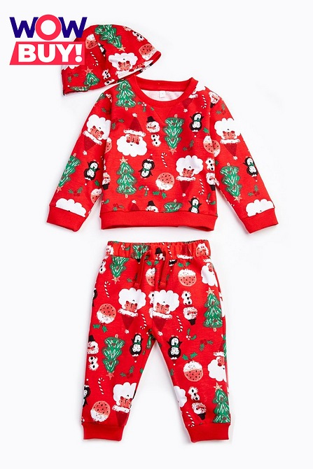 Babies Unisex 3-Piece Christmas Jog Set and Hat ONLY £6 @ Studio