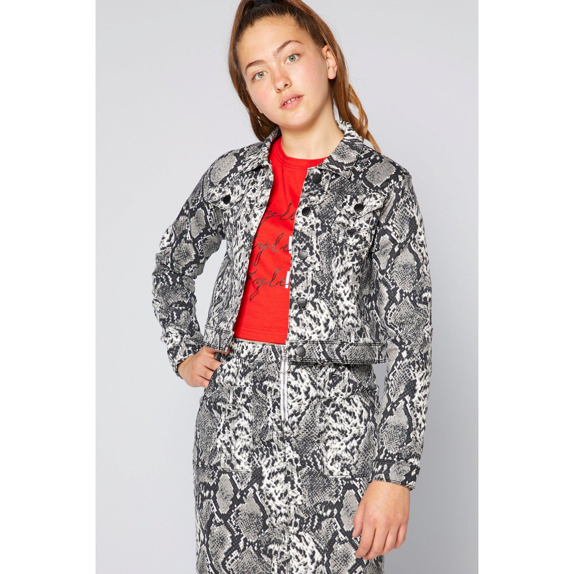 Image of Older Girls Snakeskin Grey Denim Jacket