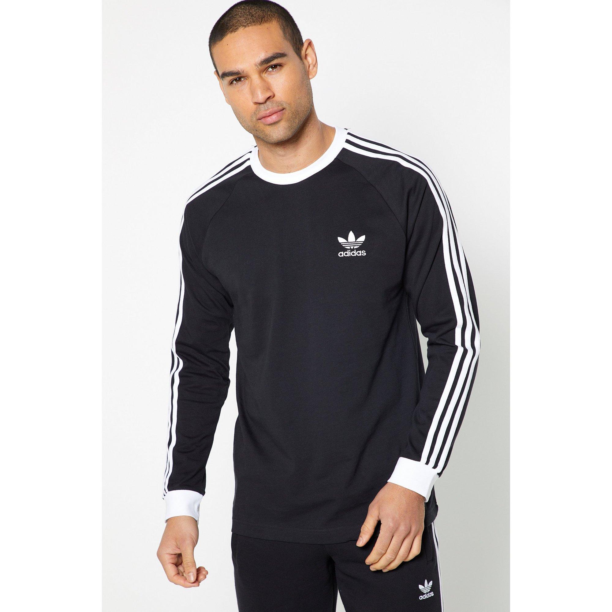 Image of adidas Originals 3 Stripes Long Sleeve Black T-Shirt