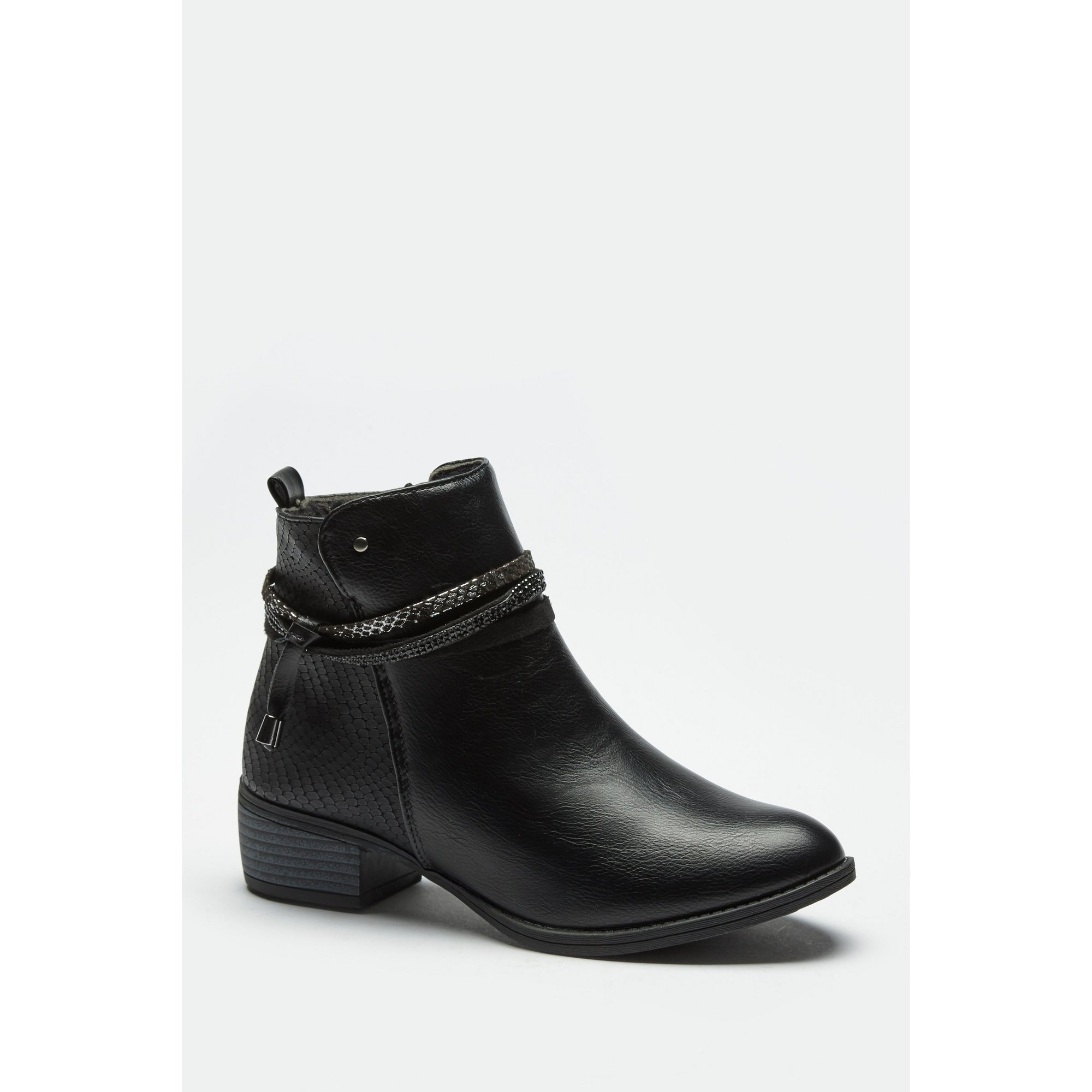 Image of Comfort Plus PU Snake Tie Black Ankle Boots