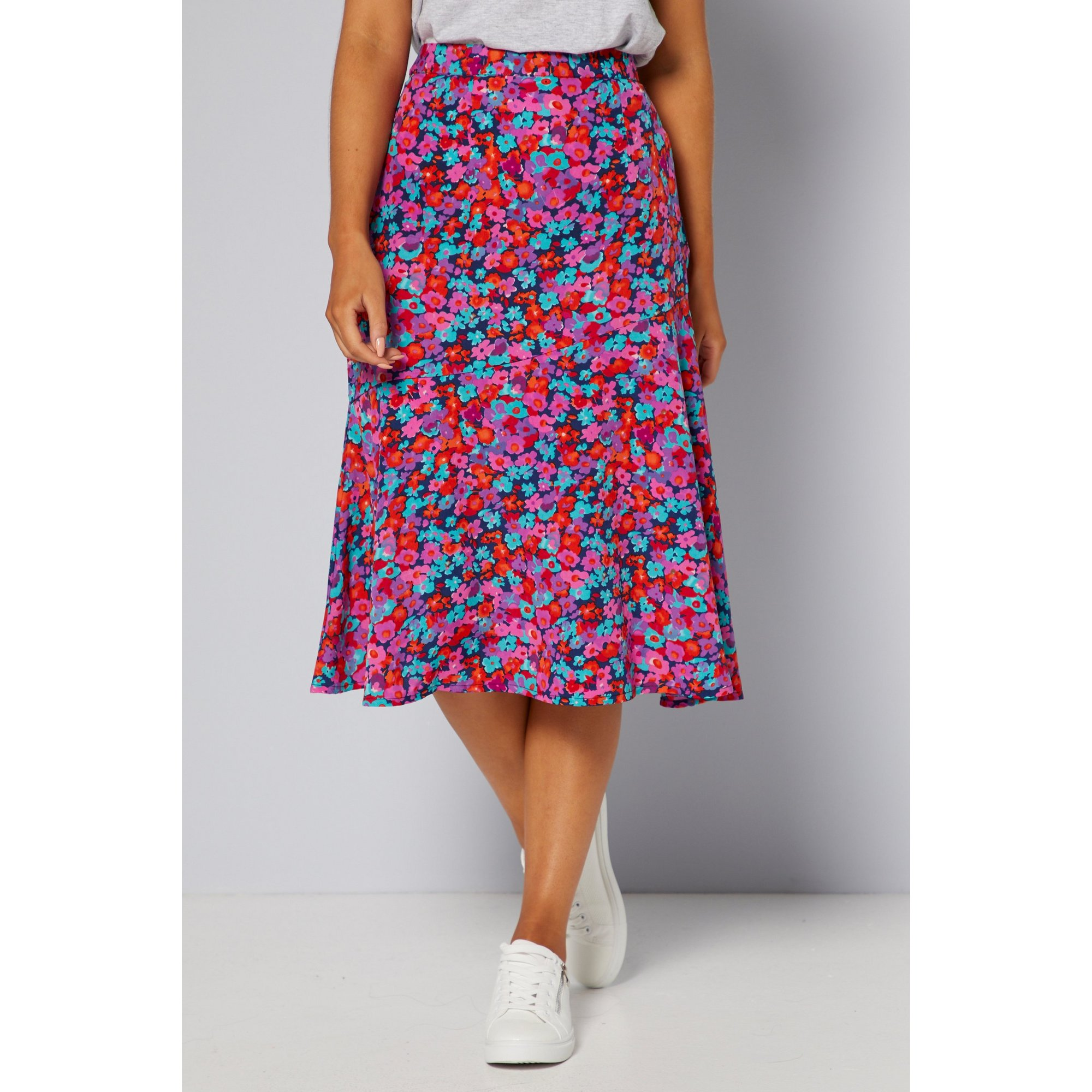 Image of Candy Pop Floral Diagonal Seam Skirt