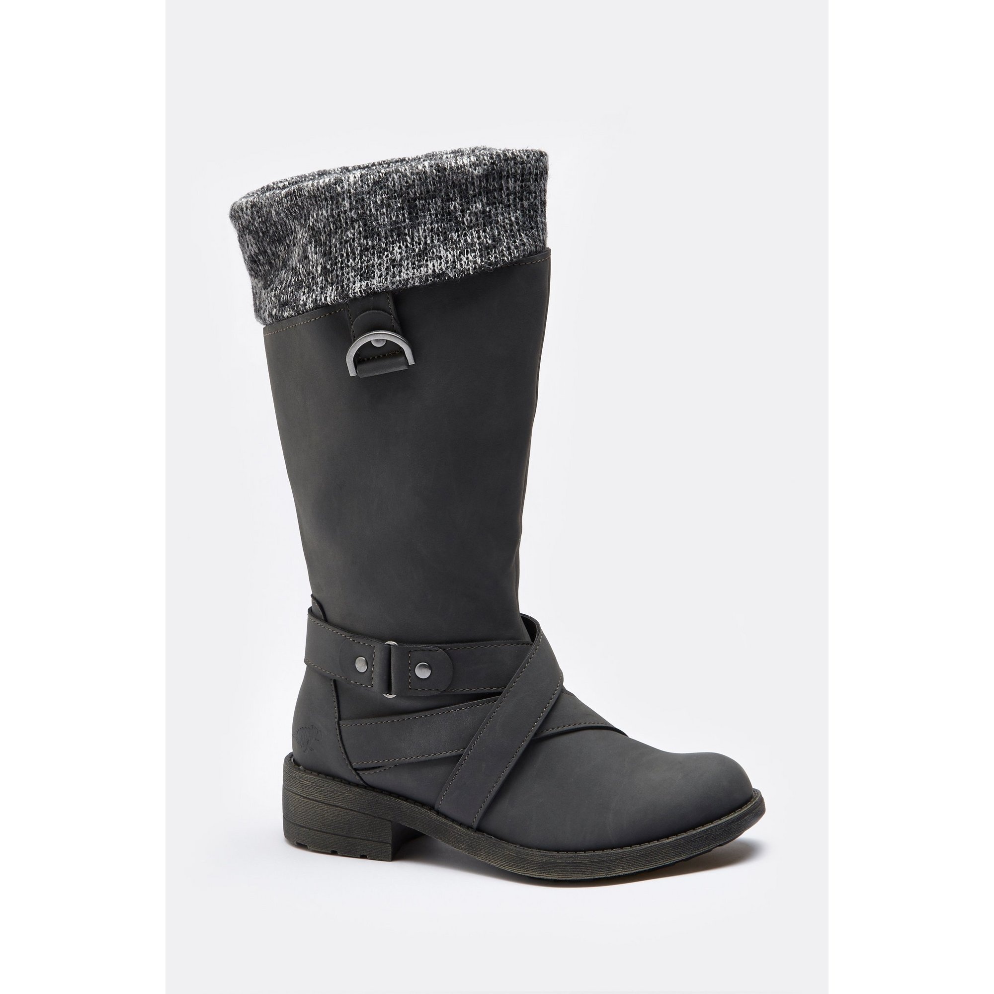 Rocket Dog Knitted Collar Black Boots
