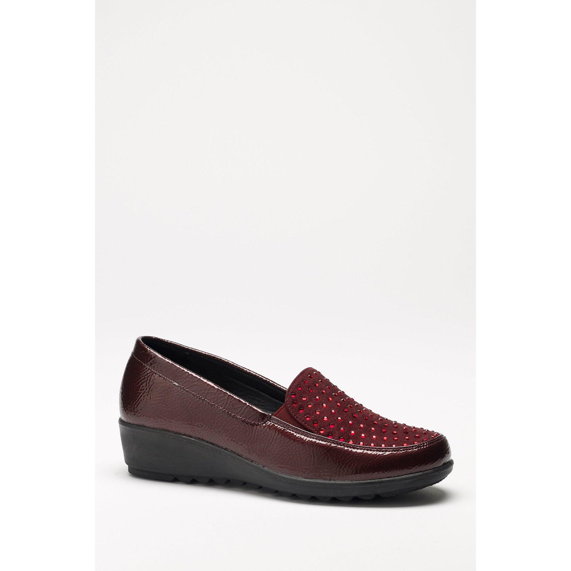Image of Cushion Walk Diamante Burgundy Slip On Shoes