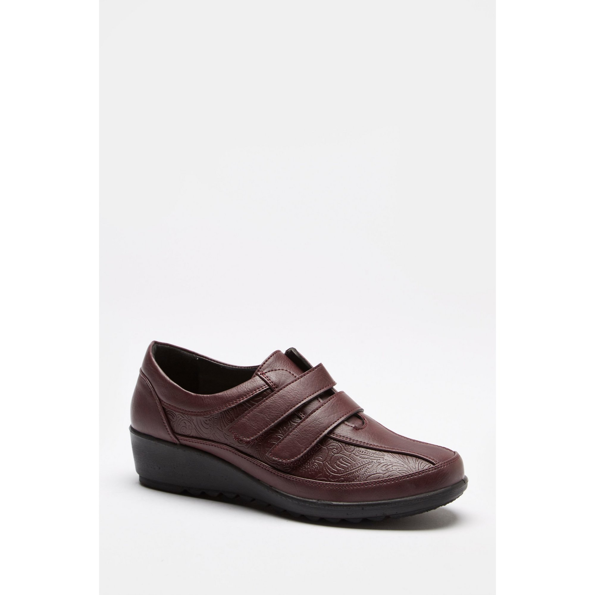 Image of Cushion Walk Burgundy Floral Embossed Strap Shoes